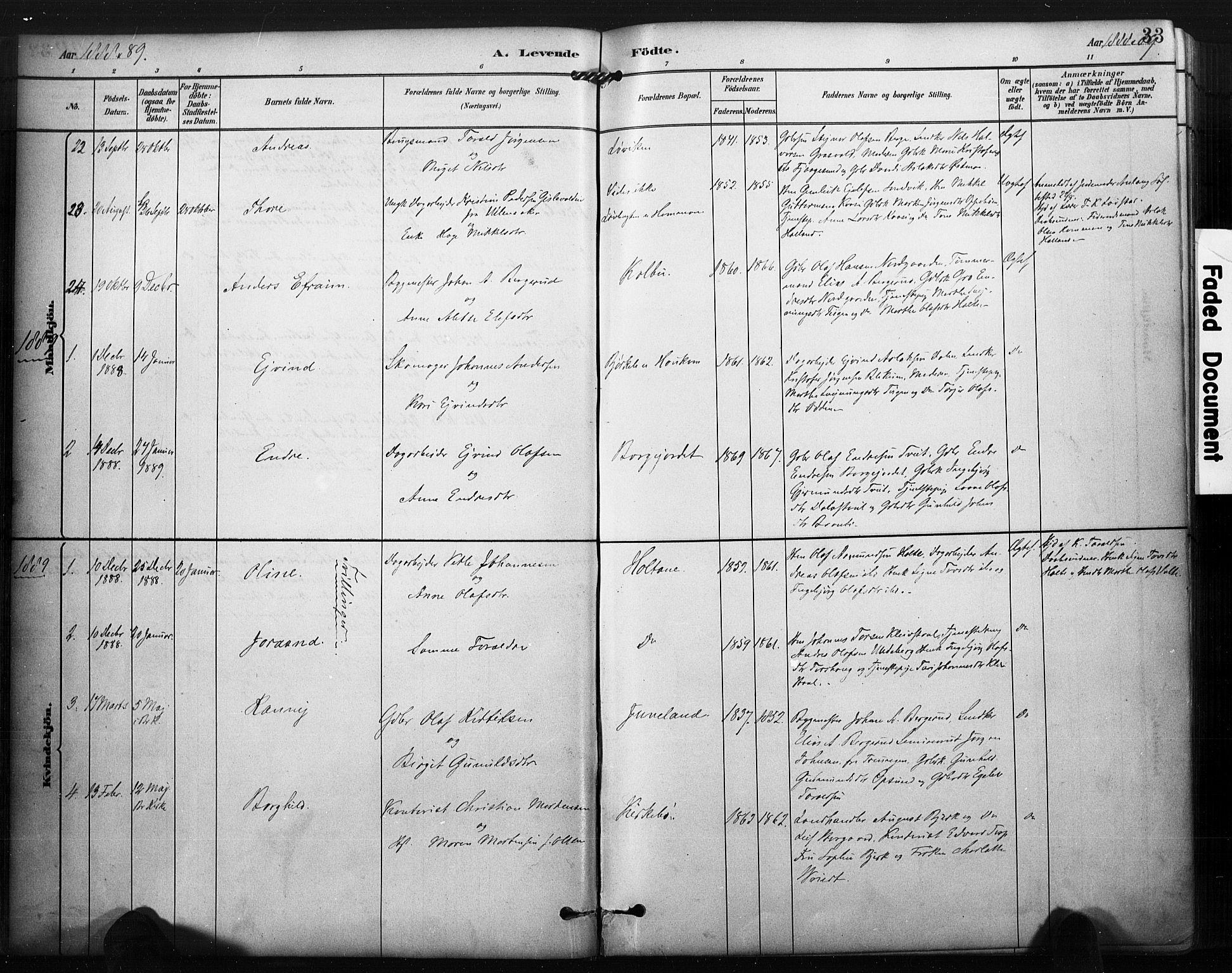 SAKO, Kviteseid kirkebøker, F/Fa/L0008: Ministerialbok nr. I 8, 1882-1903, s. 33