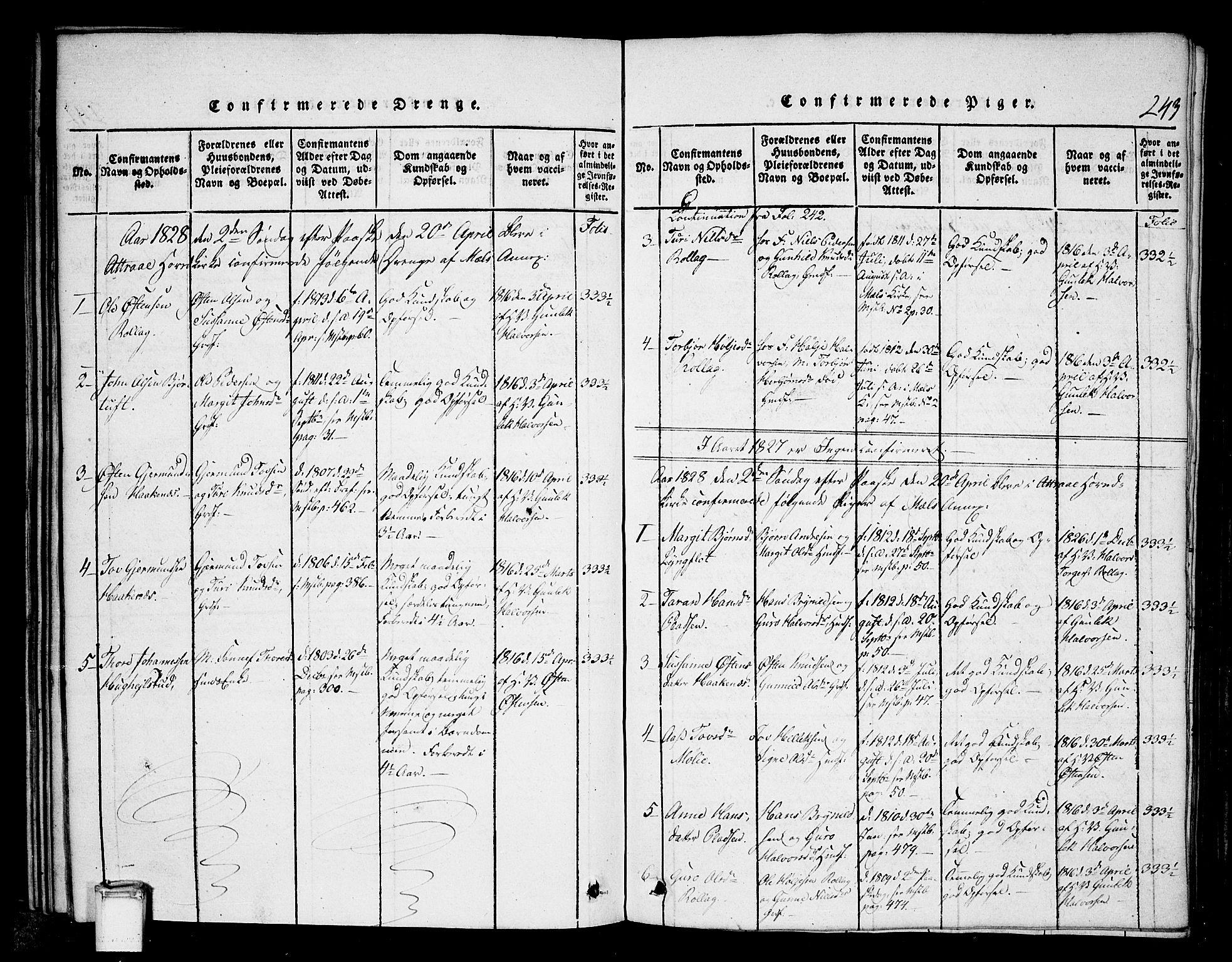 SAKO, Tinn kirkebøker, G/Gb/L0001: Klokkerbok nr. II 1 /1, 1815-1850, s. 243