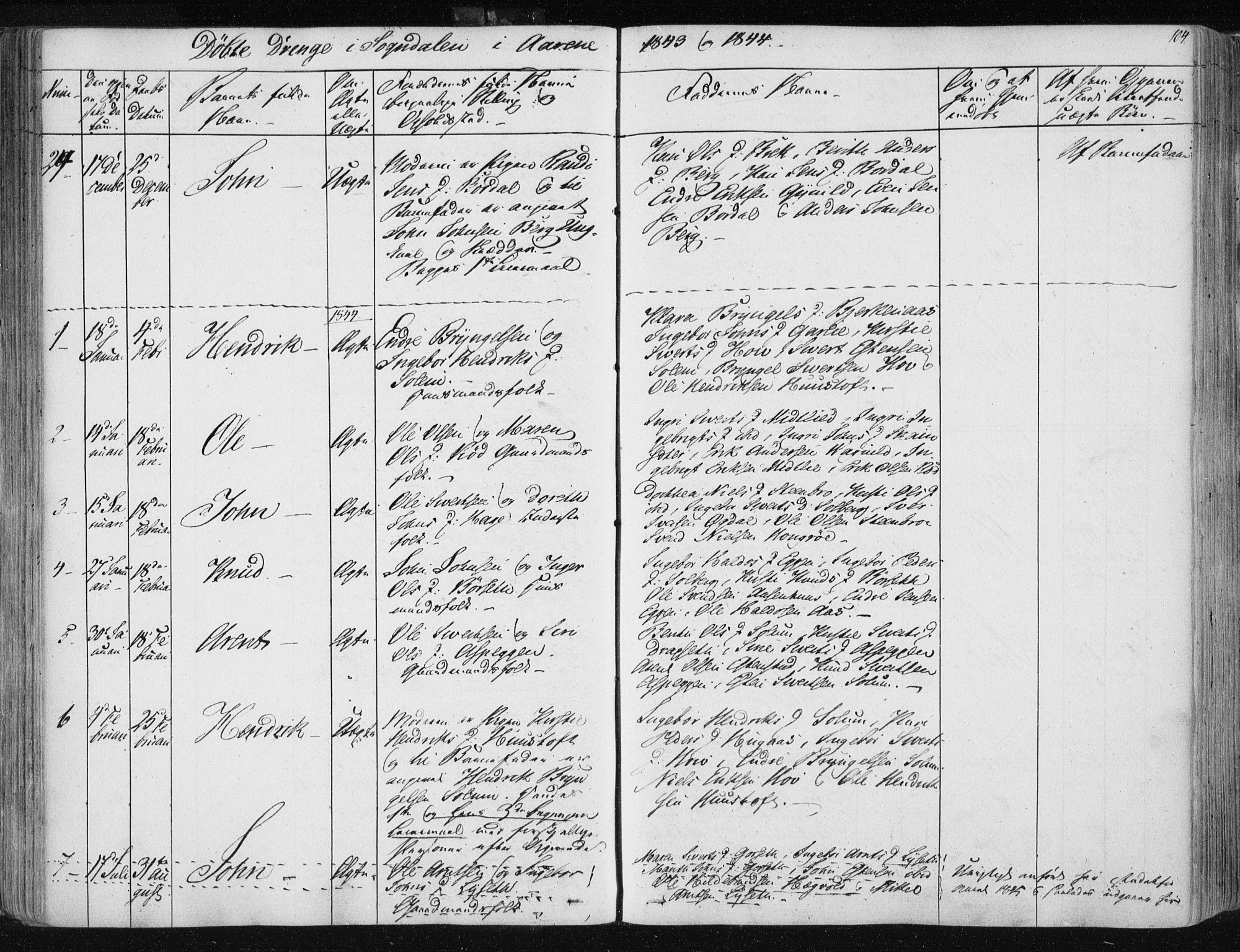 SAT, Ministerialprotokoller, klokkerbøker og fødselsregistre - Sør-Trøndelag, 687/L0999: Ministerialbok nr. 687A05 /3, 1843-1848, s. 104