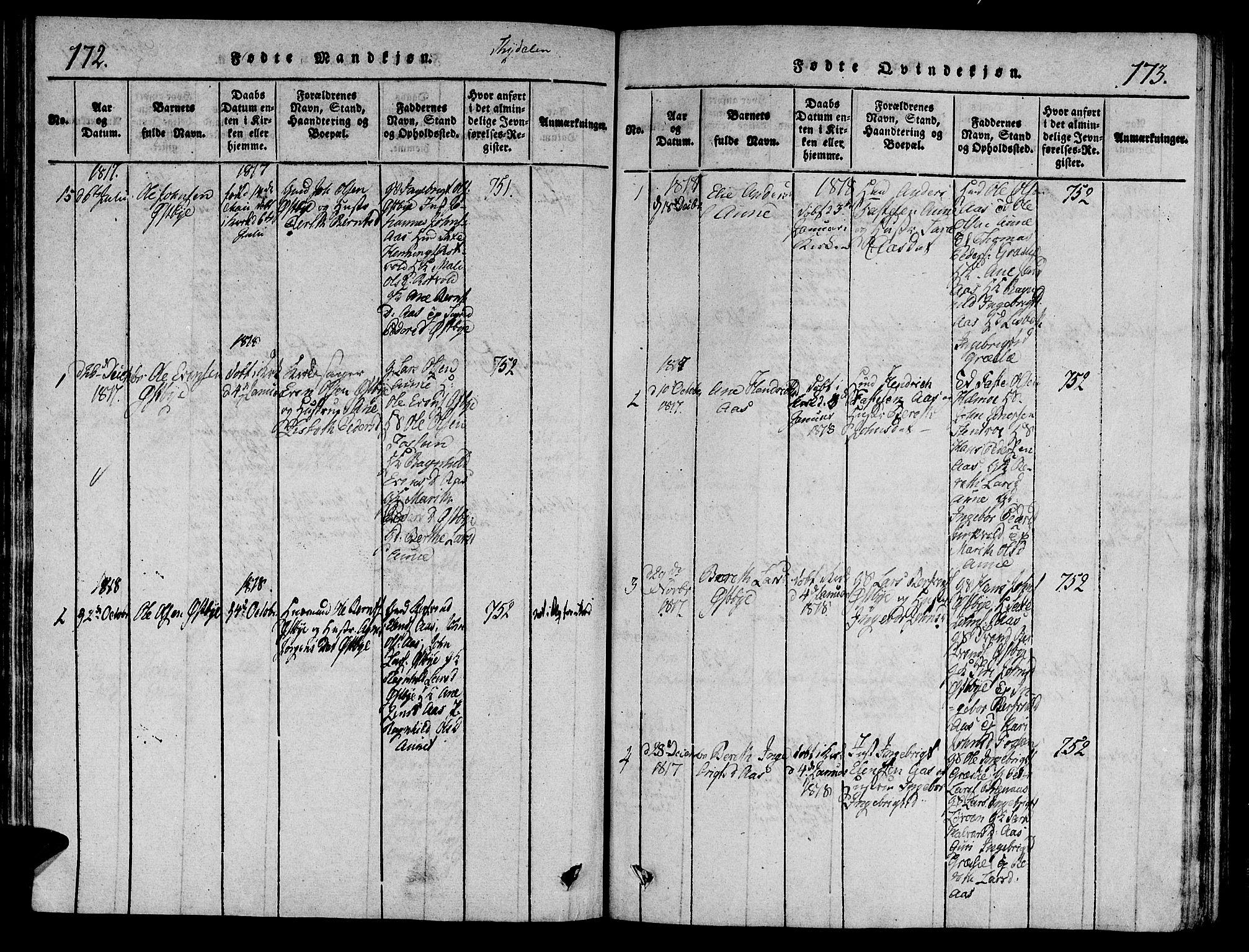SAT, Ministerialprotokoller, klokkerbøker og fødselsregistre - Sør-Trøndelag, 695/L1142: Ministerialbok nr. 695A04 /2, 1816-1824, s. 172-173