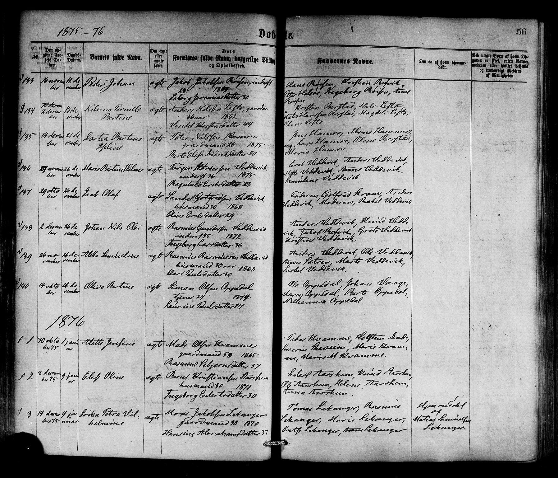 SAB, Selje sokneprestembete*, Ministerialbok nr. A 12, 1870-1880, s. 56