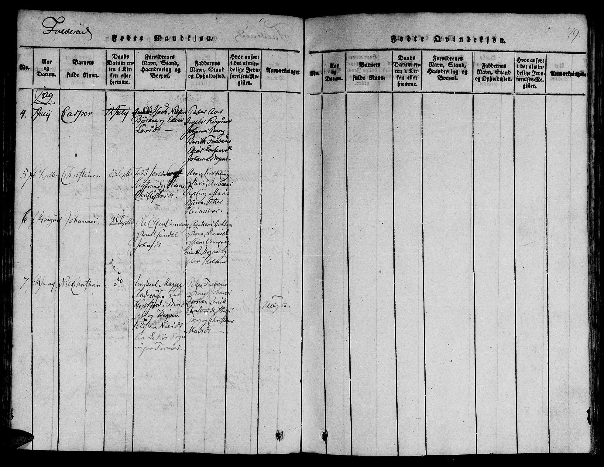 SAT, Ministerialprotokoller, klokkerbøker og fødselsregistre - Nord-Trøndelag, 780/L0636: Ministerialbok nr. 780A03 /3, 1815-1829, s. 79