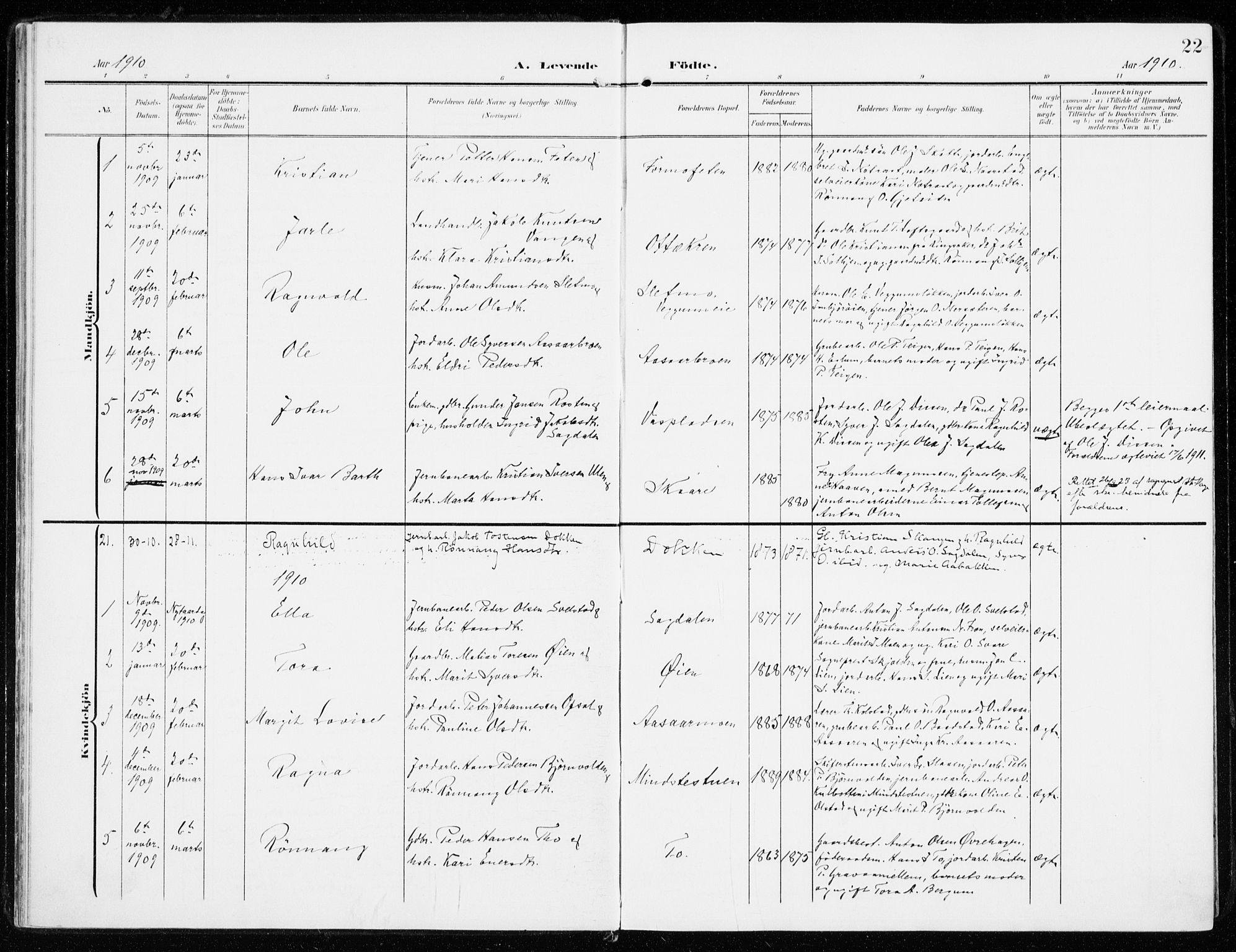 SAH, Sel prestekontor, Ministerialbok nr. 2, 1905-1919, s. 22