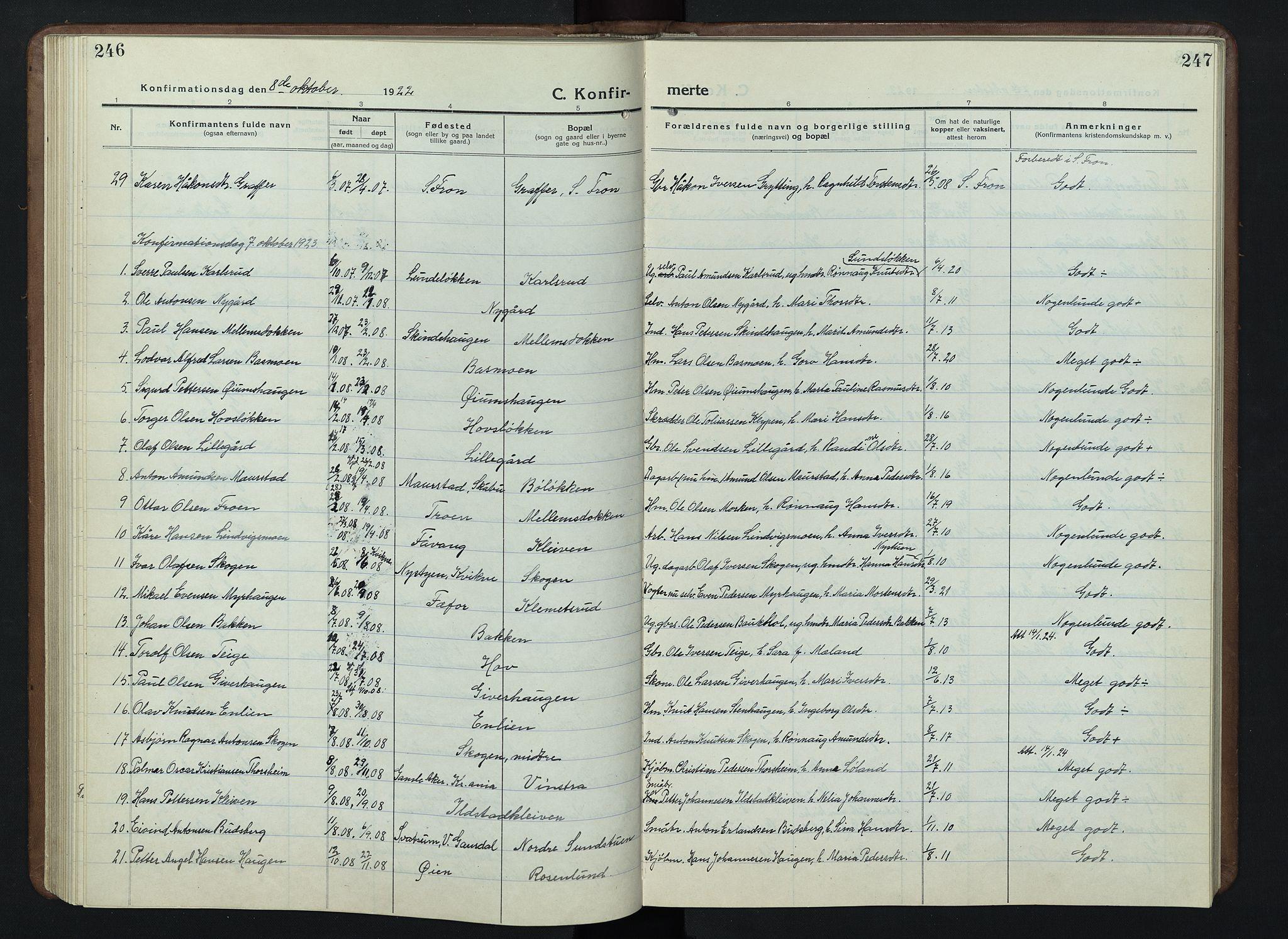 SAH, Nord-Fron prestekontor, Klokkerbok nr. 7, 1915-1946, s. 246-247