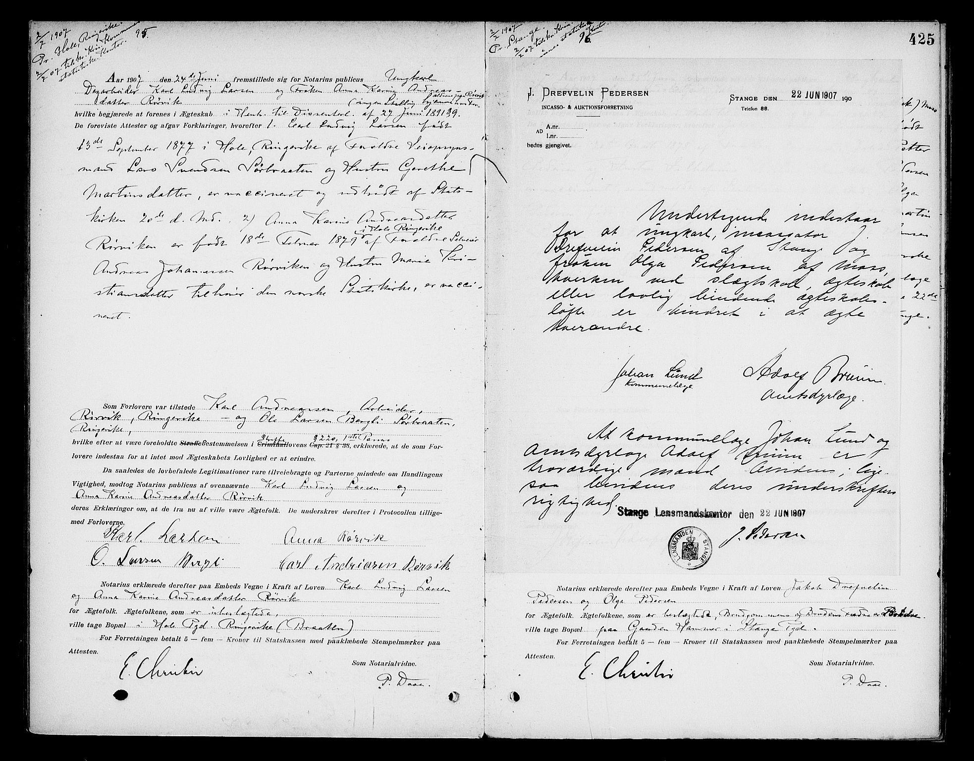 SAO, Oslo byfogd avd. I, L/Lb/Lbb/L0006: Notarialprotokoll, rekke II: Vigsler, 1902-1907, s. 424b-425a