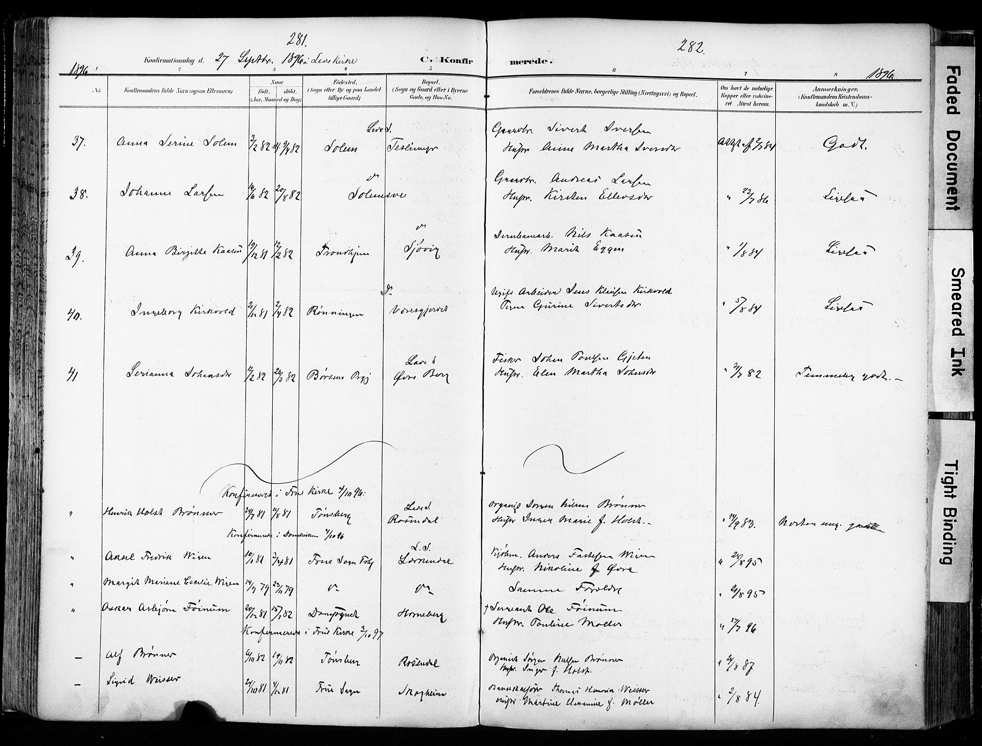SAT, Ministerialprotokoller, klokkerbøker og fødselsregistre - Sør-Trøndelag, 606/L0301: Ministerialbok nr. 606A16, 1894-1907, s. 281-282