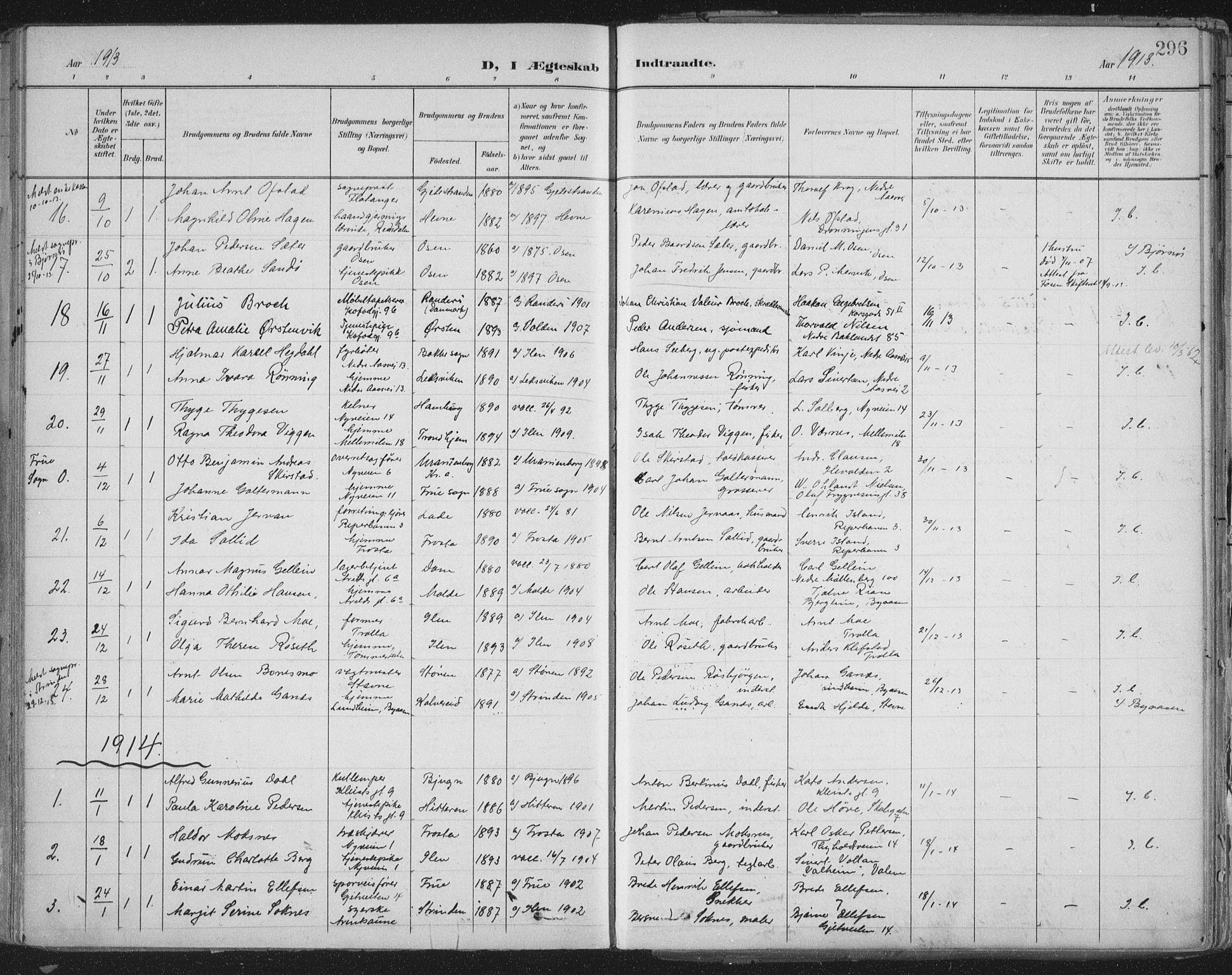 SAT, Ministerialprotokoller, klokkerbøker og fødselsregistre - Sør-Trøndelag, 603/L0167: Ministerialbok nr. 603A06, 1896-1932, s. 296