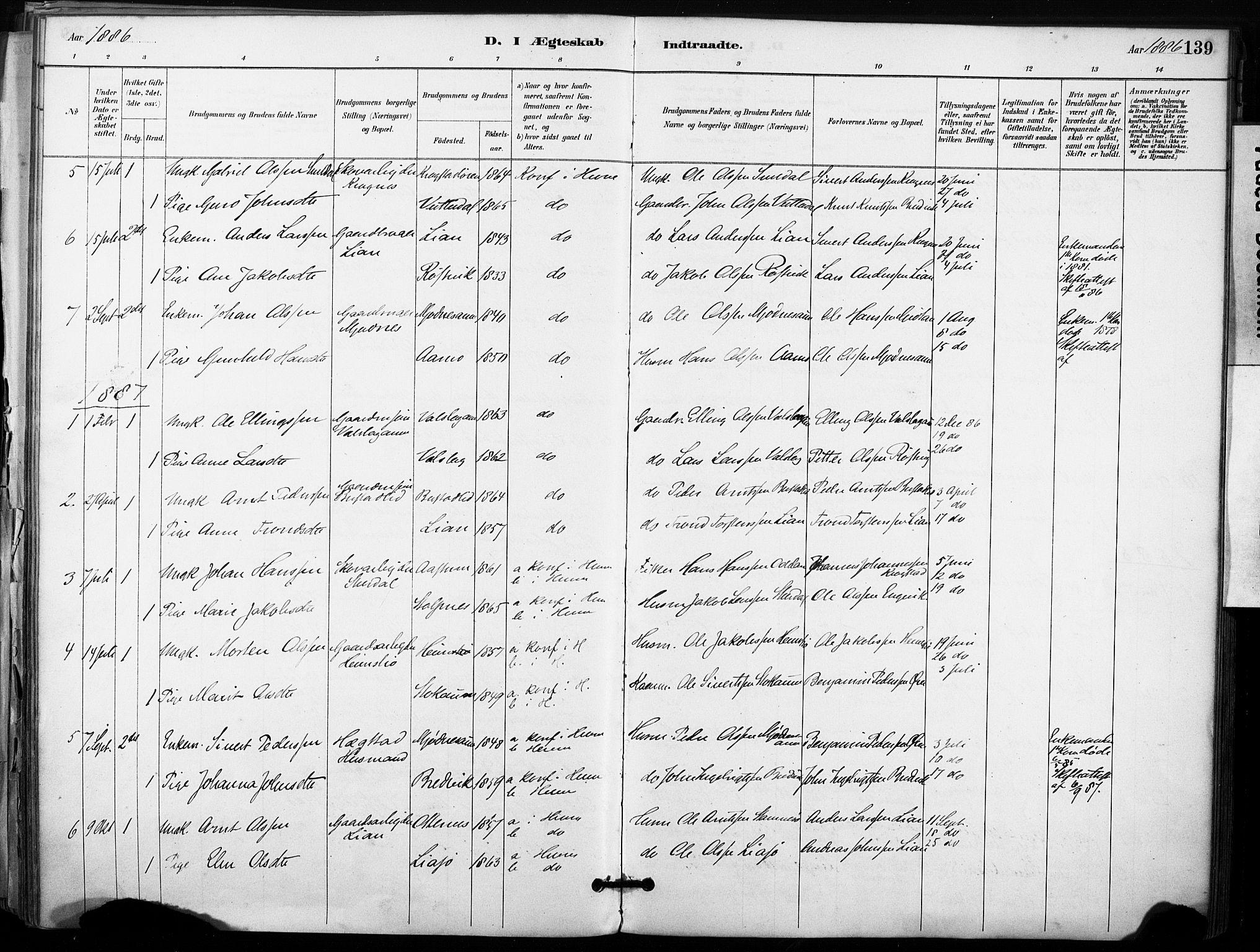 SAT, Ministerialprotokoller, klokkerbøker og fødselsregistre - Sør-Trøndelag, 633/L0518: Ministerialbok nr. 633A01, 1884-1906, s. 139