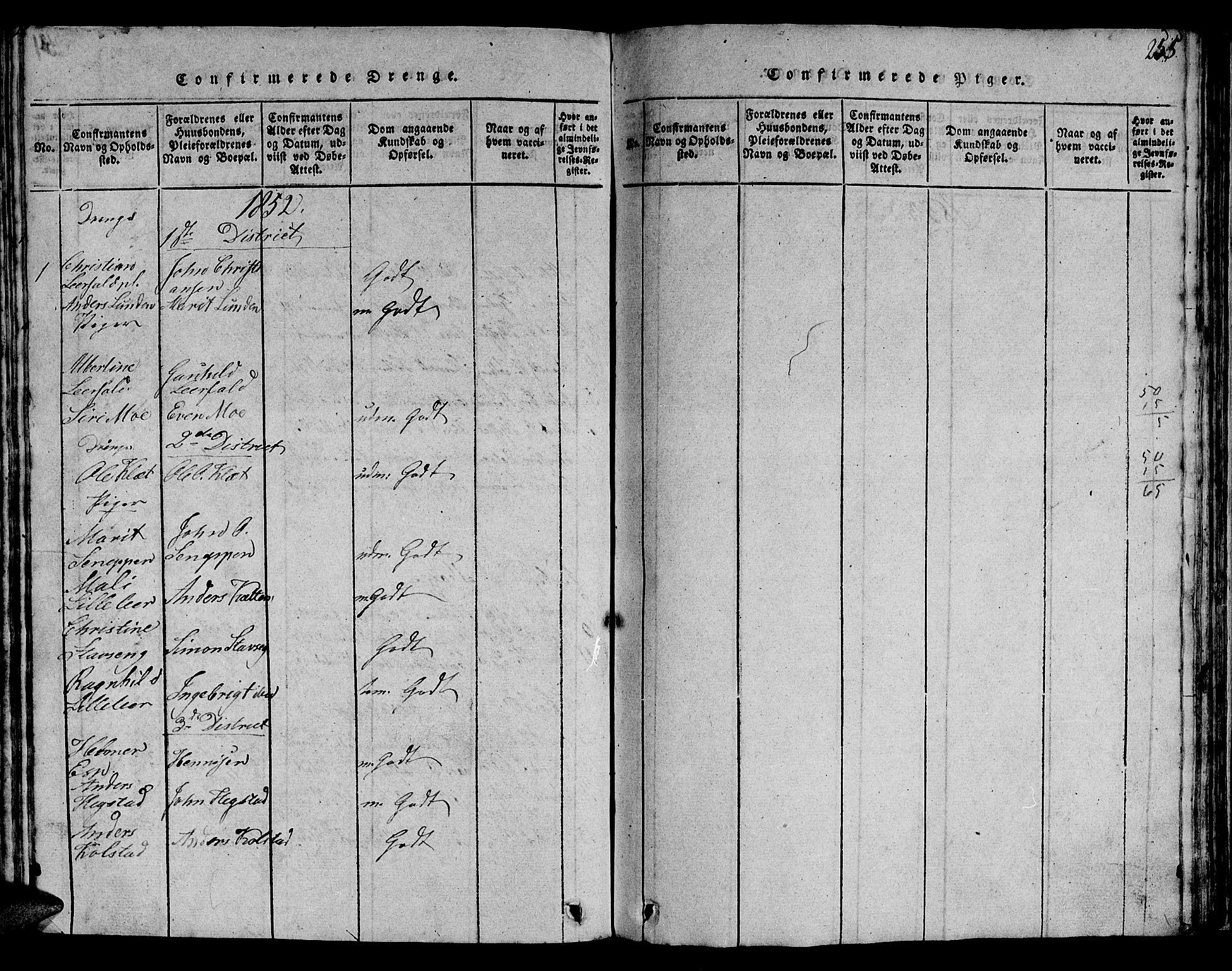 SAT, Ministerialprotokoller, klokkerbøker og fødselsregistre - Sør-Trøndelag, 613/L0393: Klokkerbok nr. 613C01, 1816-1886, s. 255