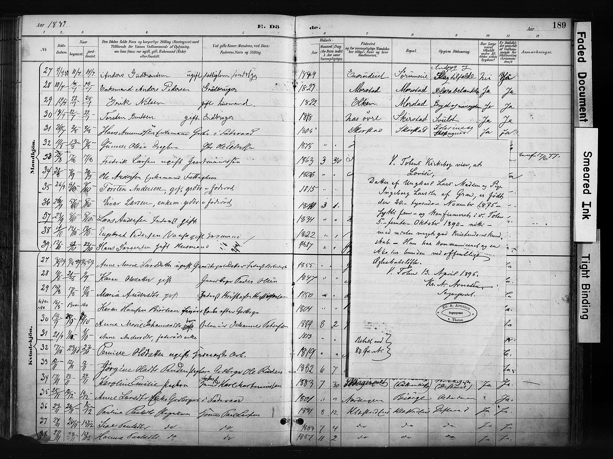 SAH, Gran prestekontor, Ministerialbok nr. 17, 1889-1897, s. 189