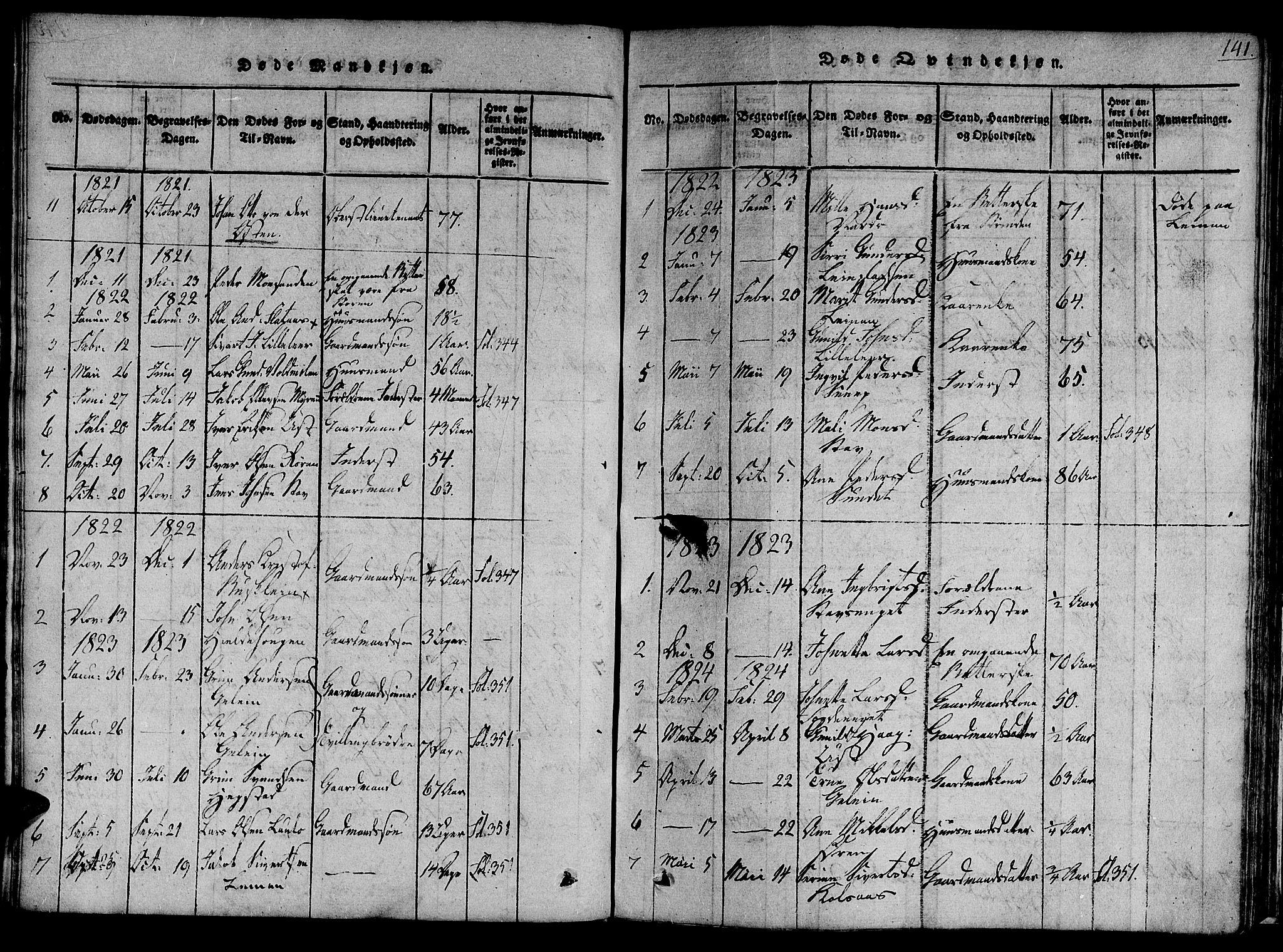 SAT, Ministerialprotokoller, klokkerbøker og fødselsregistre - Sør-Trøndelag, 691/L1067: Ministerialbok nr. 691A03 /3, 1816-1826, s. 141
