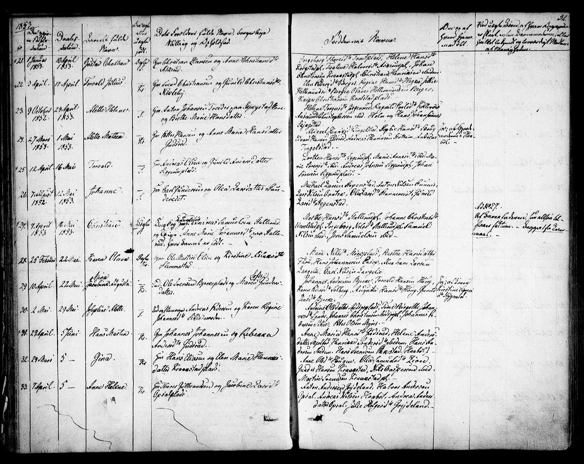 SAO, Kråkstad prestekontor Kirkebøker, F/Fa/L0006: Ministerialbok nr. I 6, 1848-1857, s. 32