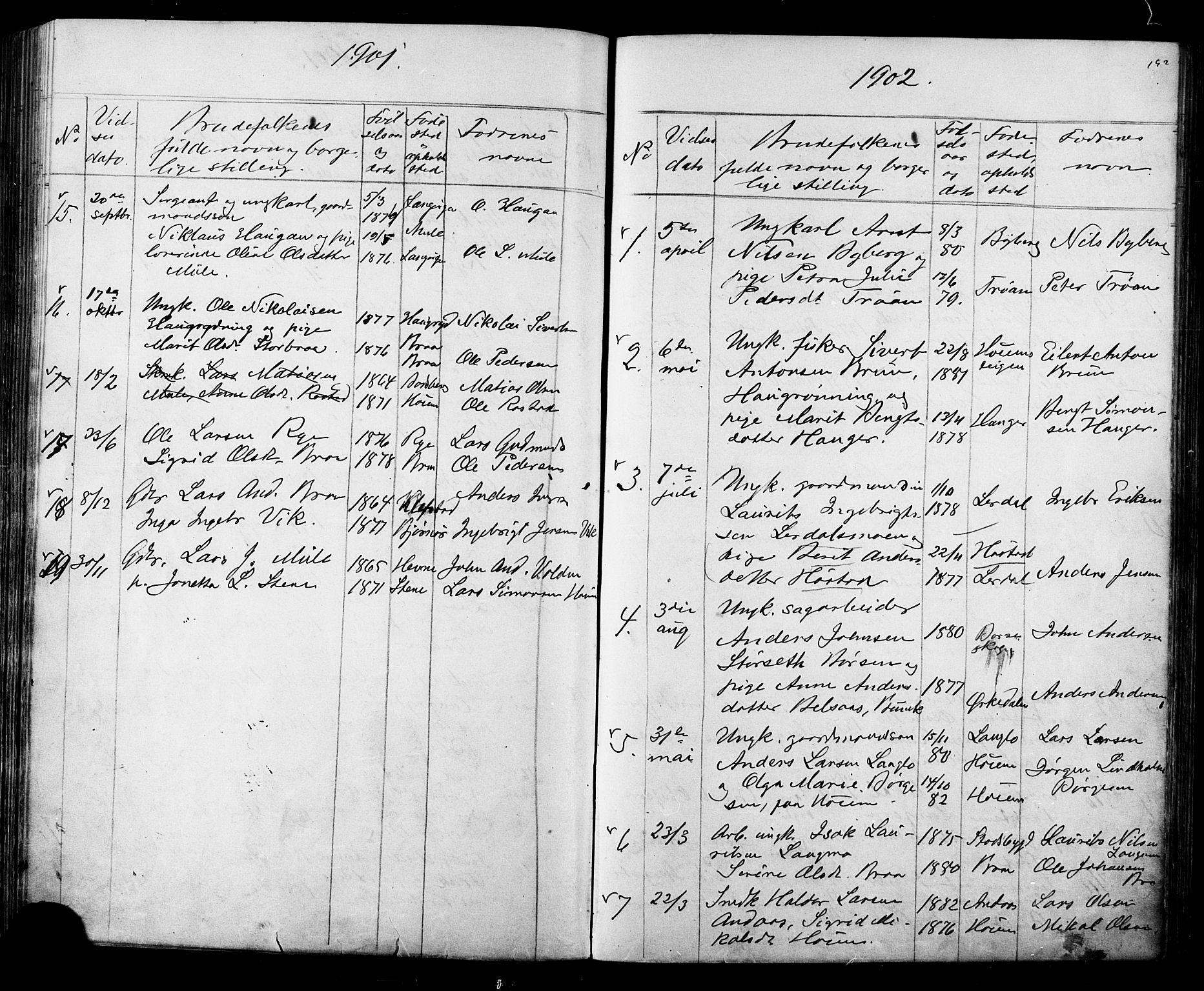 SAT, Ministerialprotokoller, klokkerbøker og fødselsregistre - Sør-Trøndelag, 612/L0387: Klokkerbok nr. 612C03, 1874-1908, s. 192