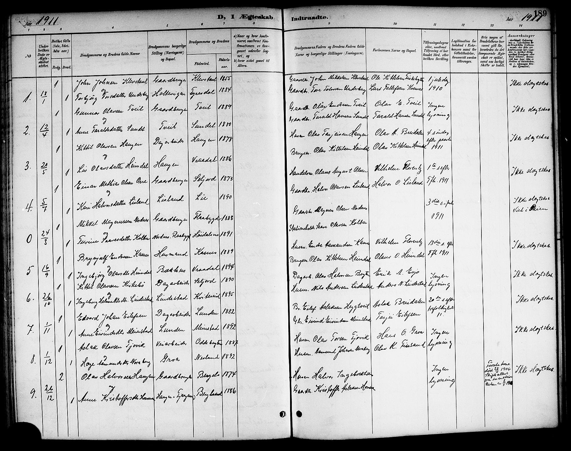 SAKO, Kviteseid kirkebøker, G/Ga/L0002: Klokkerbok nr. I 2, 1893-1918, s. 189