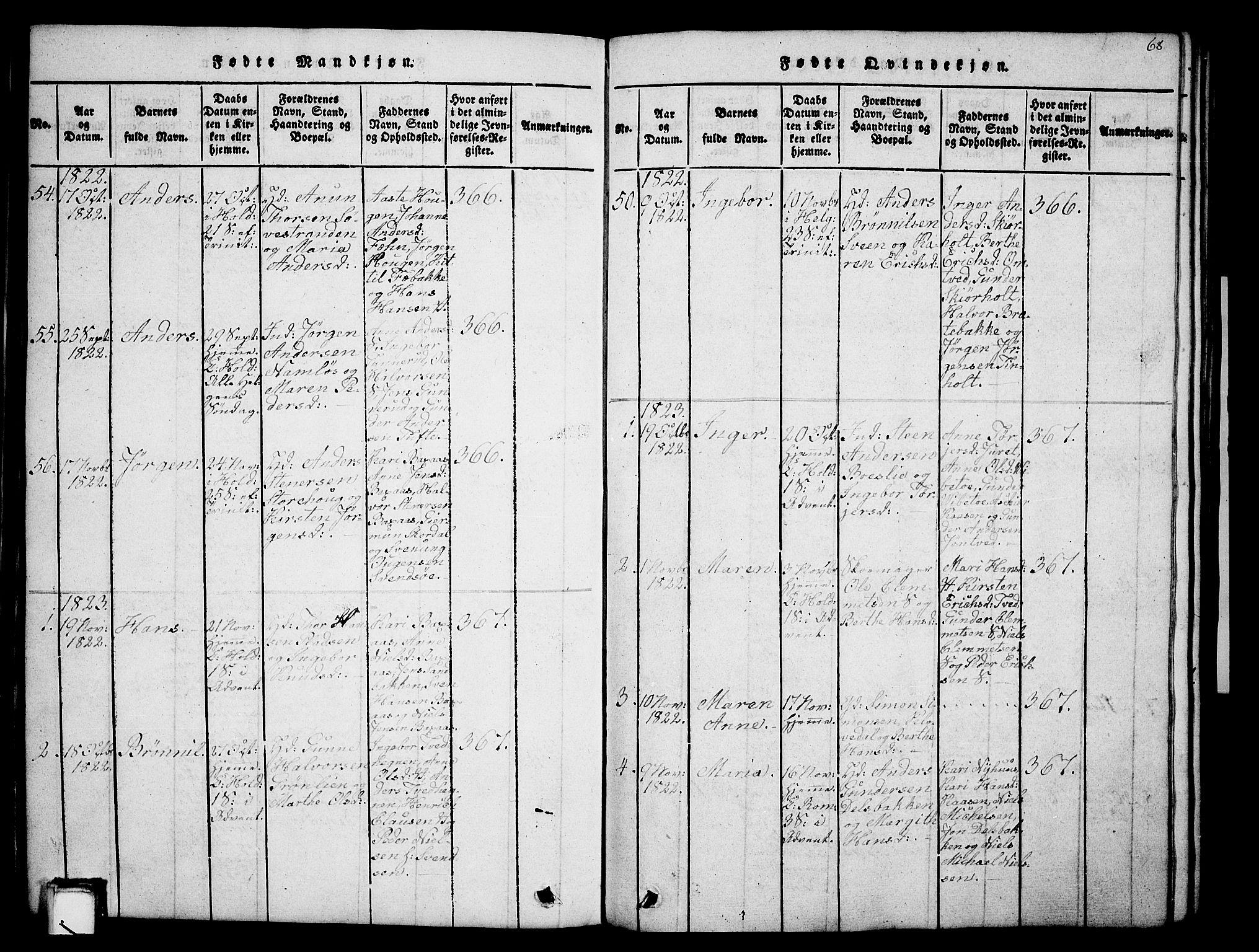 SAKO, Holla kirkebøker, G/Ga/L0001: Klokkerbok nr. I 1, 1814-1830, s. 68
