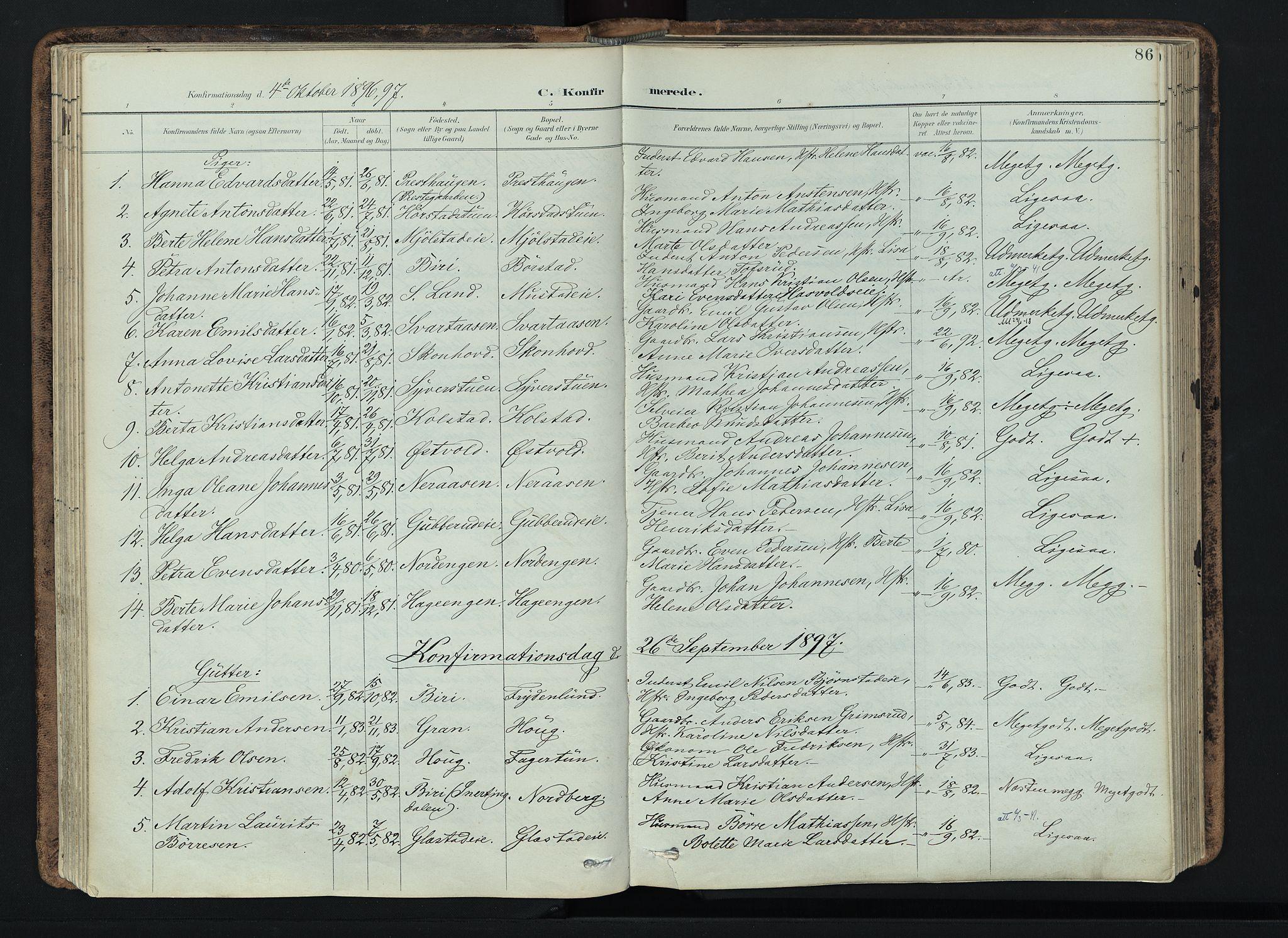 SAH, Vardal prestekontor, H/Ha/Haa/L0019: Ministerialbok nr. 19, 1893-1907, s. 86
