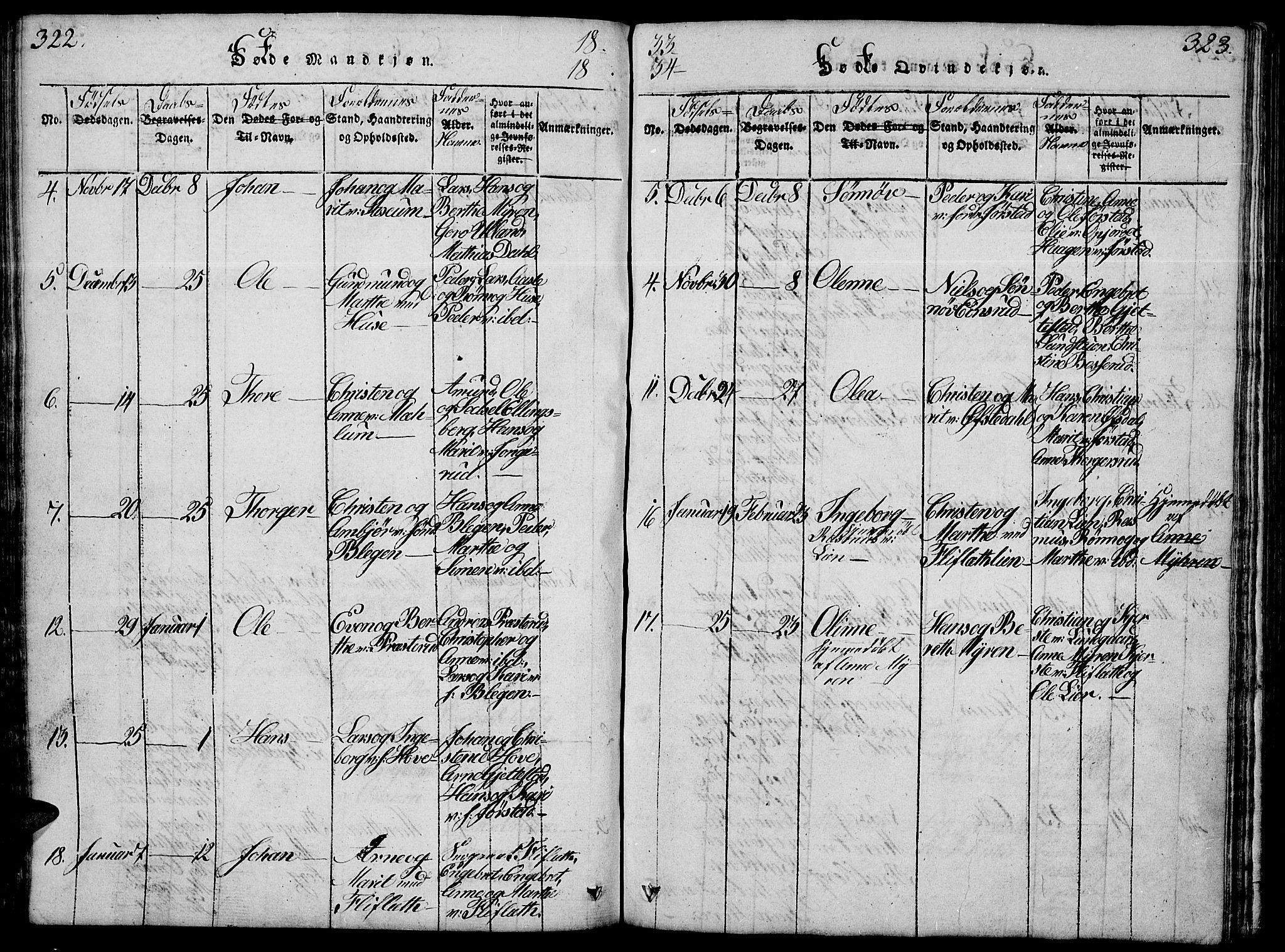 SAH, Fåberg prestekontor, Klokkerbok nr. 4, 1818-1837, s. 322-323