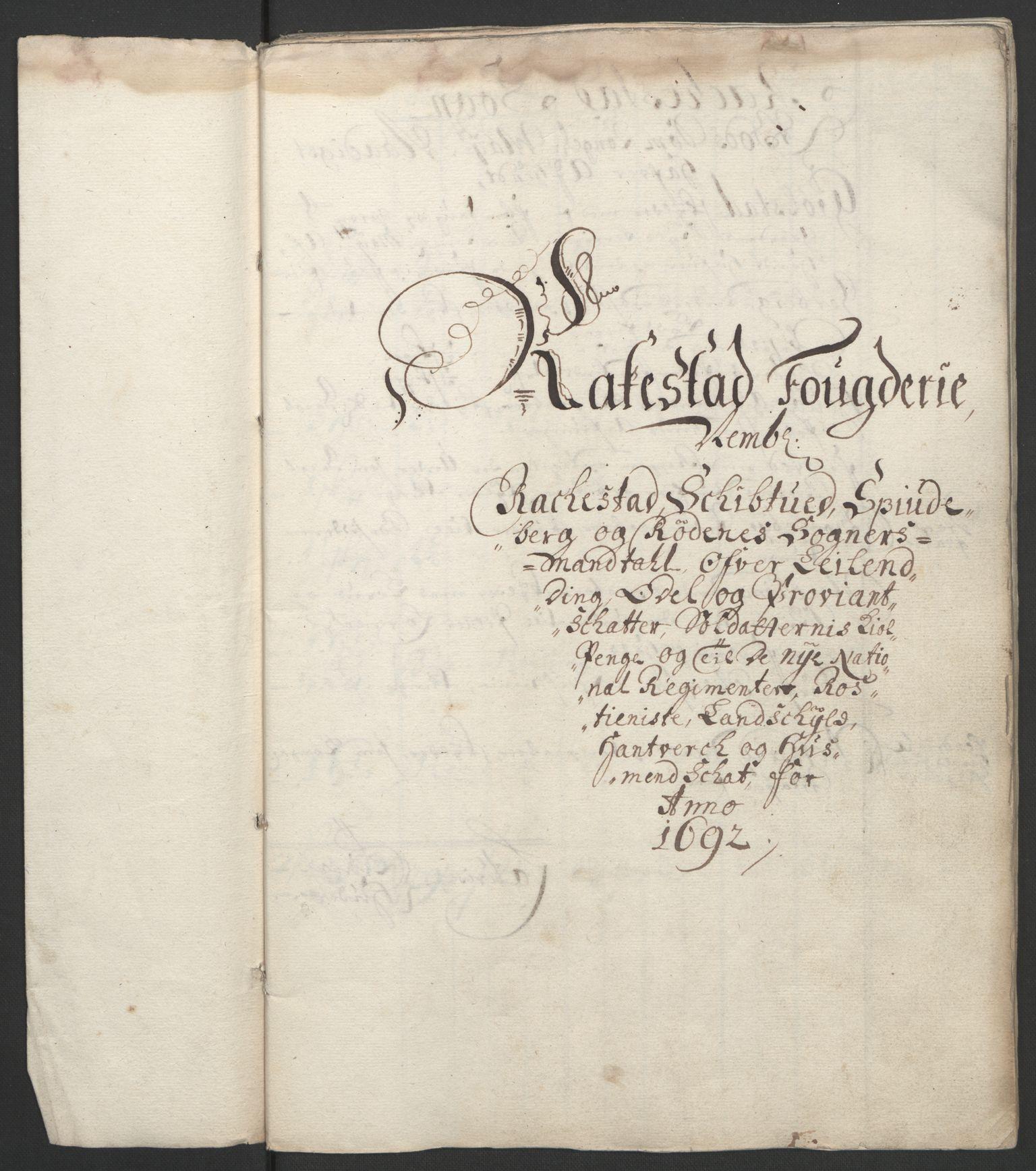 RA, Rentekammeret inntil 1814, Reviderte regnskaper, Fogderegnskap, R05/L0278: Fogderegnskap Rakkestad, 1691-1693, s. 208