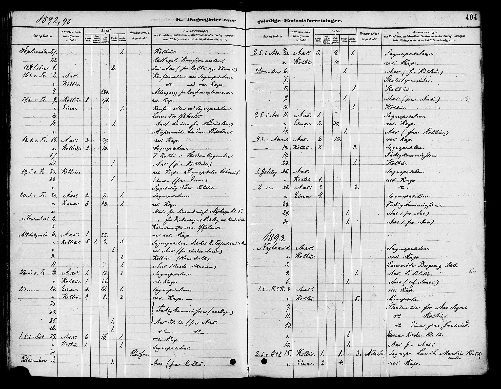 SAH, Vestre Toten prestekontor, Ministerialbok nr. 9, 1878-1894, s. 404