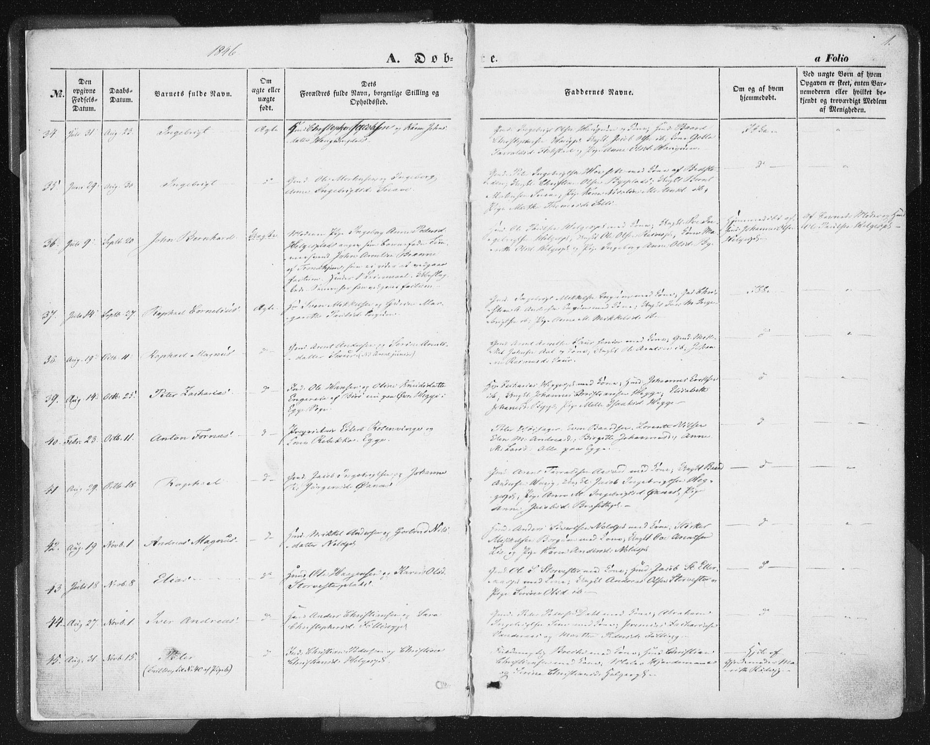 SAT, Ministerialprotokoller, klokkerbøker og fødselsregistre - Nord-Trøndelag, 746/L0446: Ministerialbok nr. 746A05, 1846-1859, s. 1