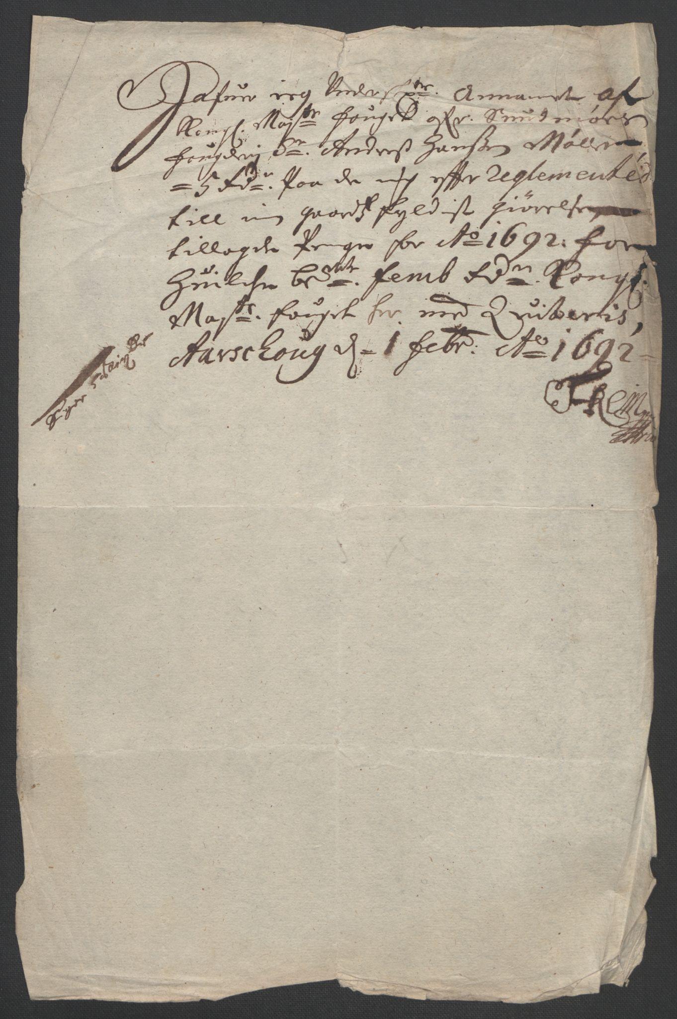 RA, Rentekammeret inntil 1814, Reviderte regnskaper, Fogderegnskap, R54/L3554: Fogderegnskap Sunnmøre, 1691-1693, s. 333