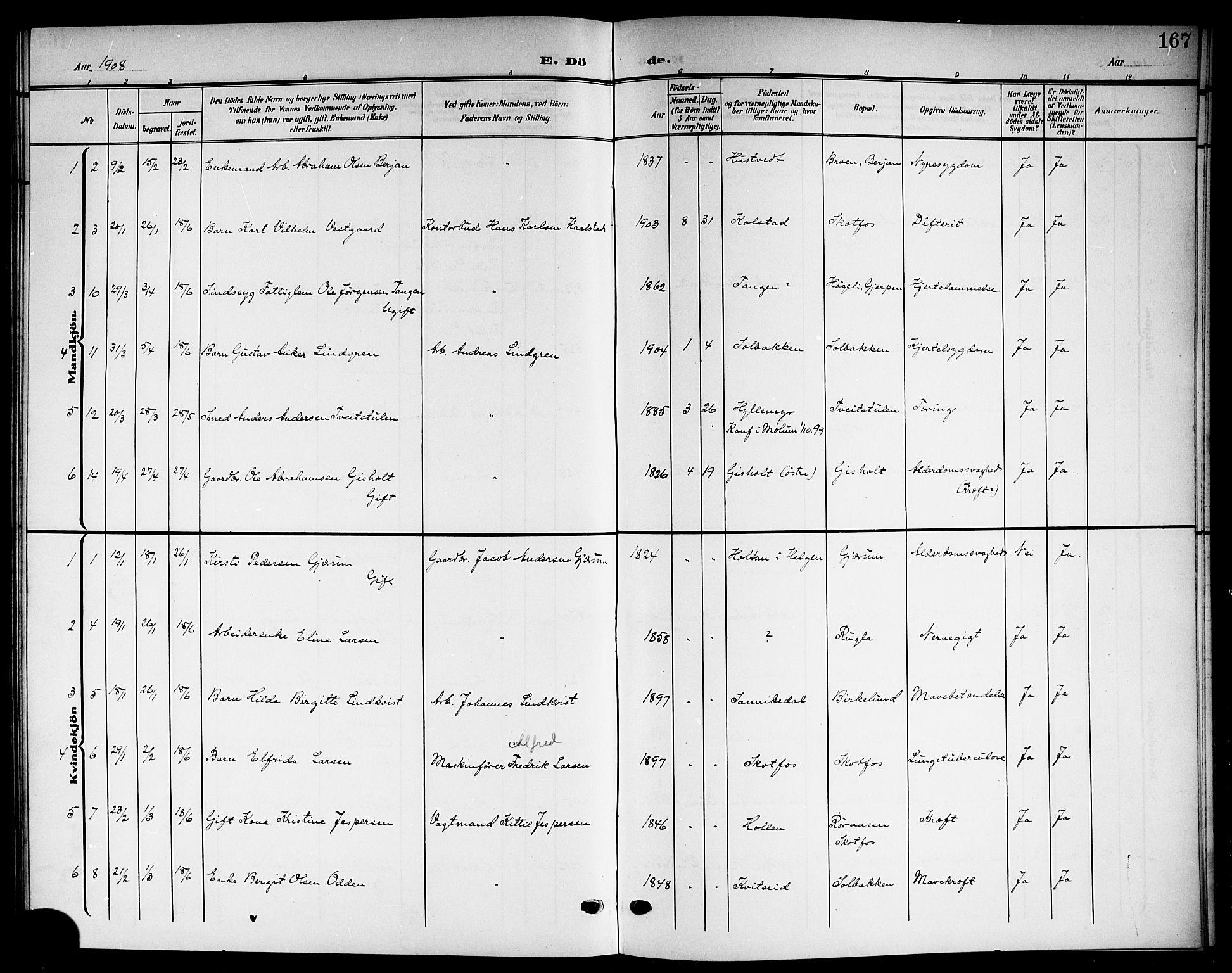 SAKO, Solum kirkebøker, G/Gb/L0005: Klokkerbok nr. II 5, 1905-1914, s. 167