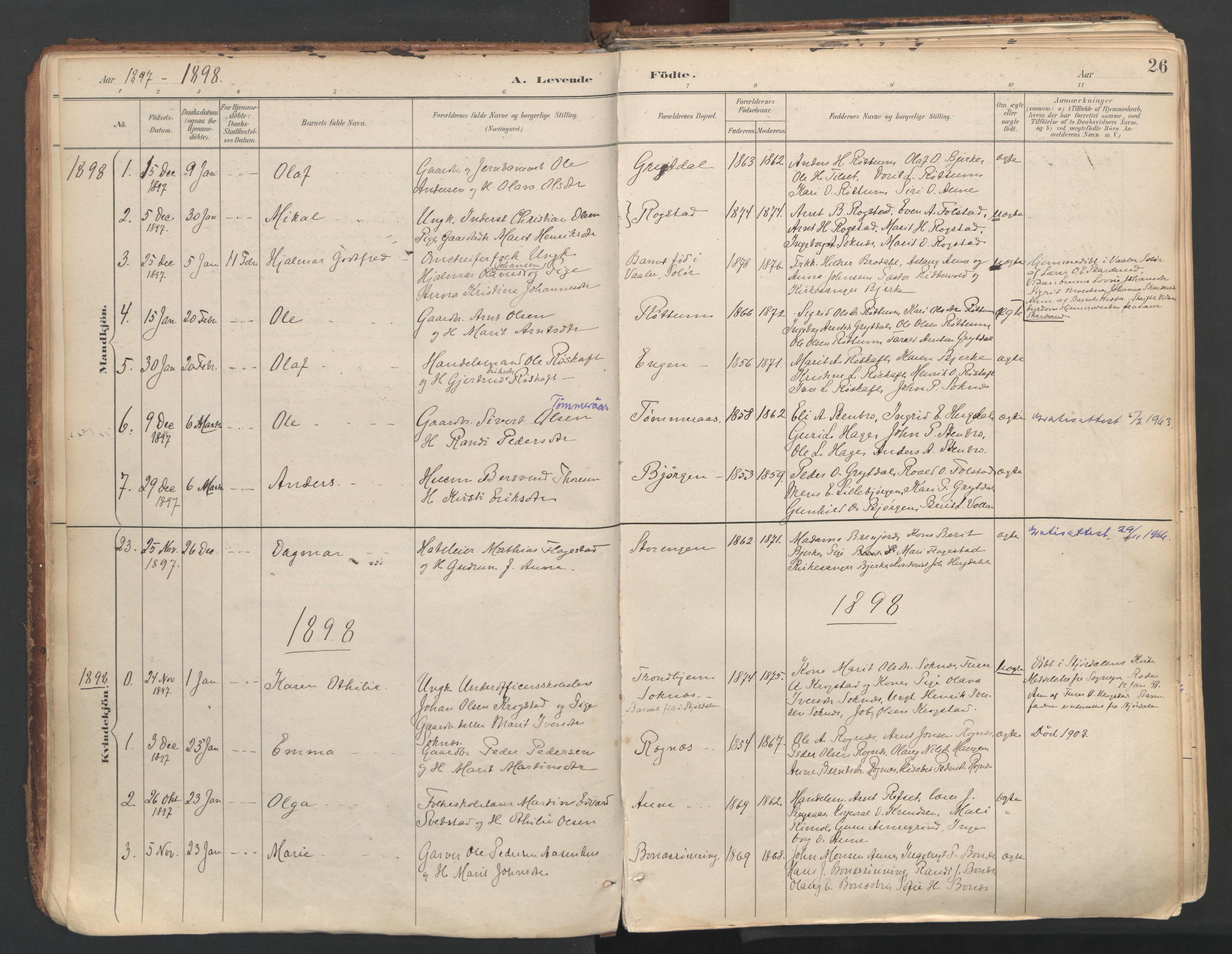 SAT, Ministerialprotokoller, klokkerbøker og fødselsregistre - Sør-Trøndelag, 687/L1004: Ministerialbok nr. 687A10, 1891-1923, s. 26