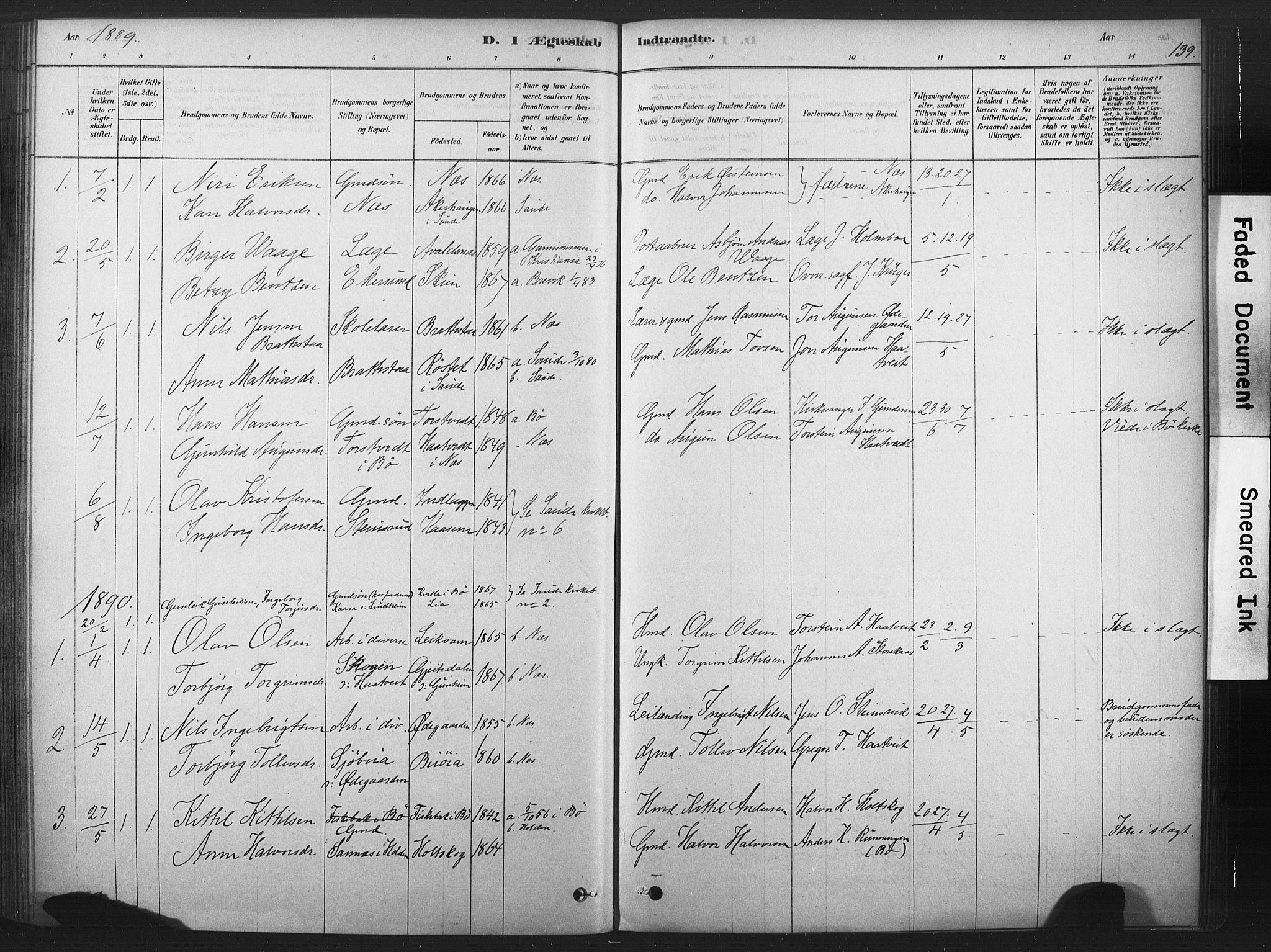 SAKO, Sauherad kirkebøker, F/Fb/L0002: Ministerialbok nr. II 2, 1878-1901, s. 139