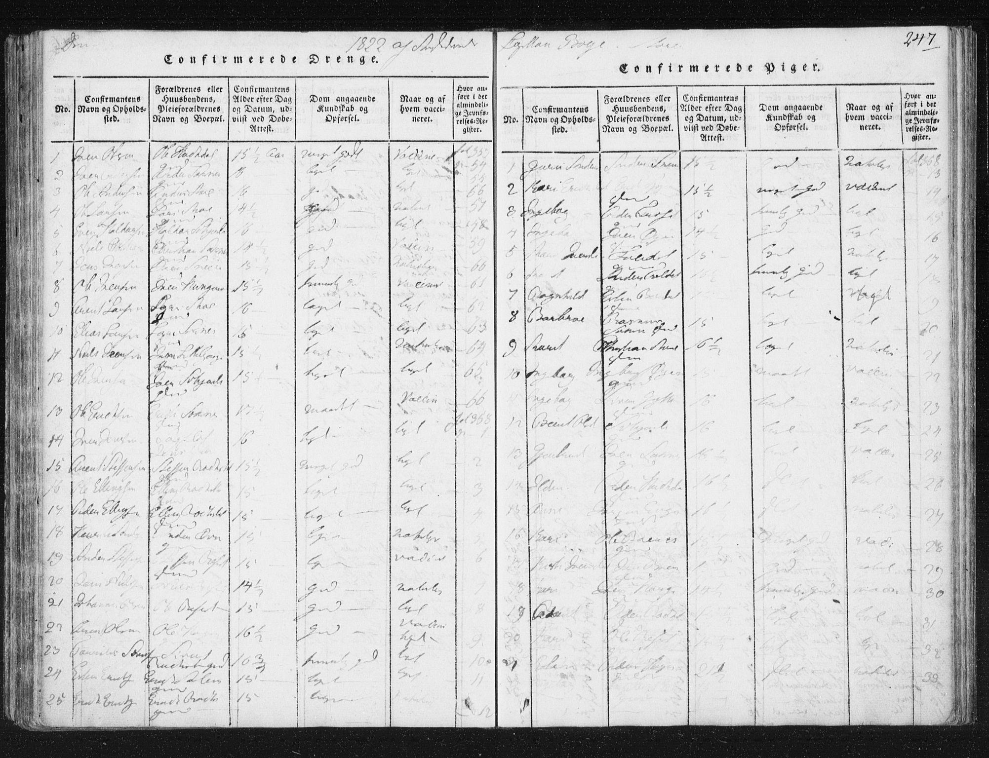 SAT, Ministerialprotokoller, klokkerbøker og fødselsregistre - Sør-Trøndelag, 687/L0996: Ministerialbok nr. 687A04, 1816-1842, s. 247