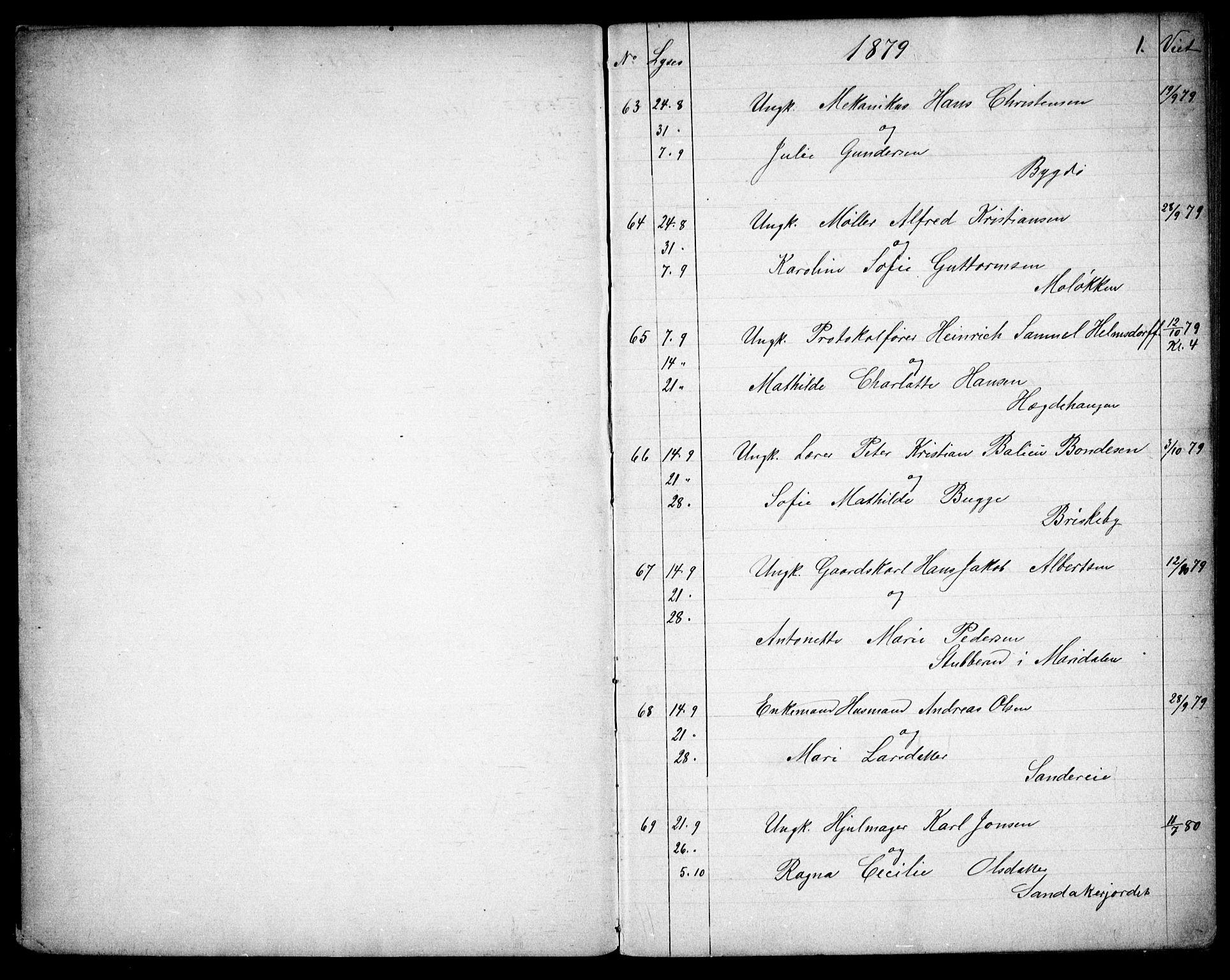 SAO, Vestre Aker prestekontor Kirkebøker, G/Ga/L0005: Klokkerbok nr. I 5, 1879-1901, s. 0-1