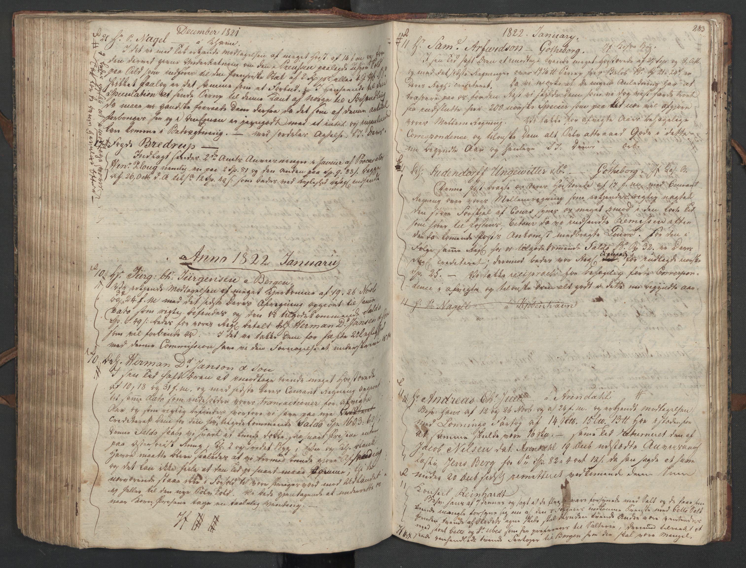 SAST, Pa 0003 - Ploug & Sundt, handelshuset, B/L0010: Kopibok, 1816-1822, s. 282b-283a