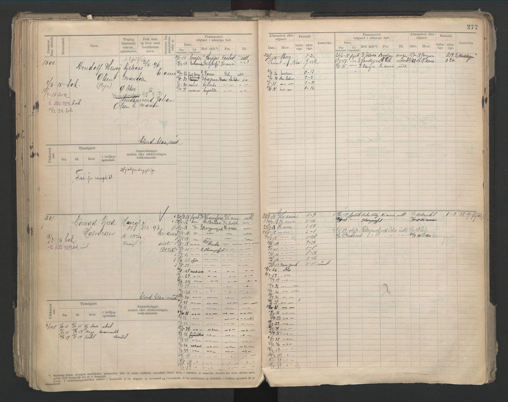 SAO, Oslo sjømannskontor, F/Fd/L0002: B-rulle, 1906-1916, s. 276b-277a