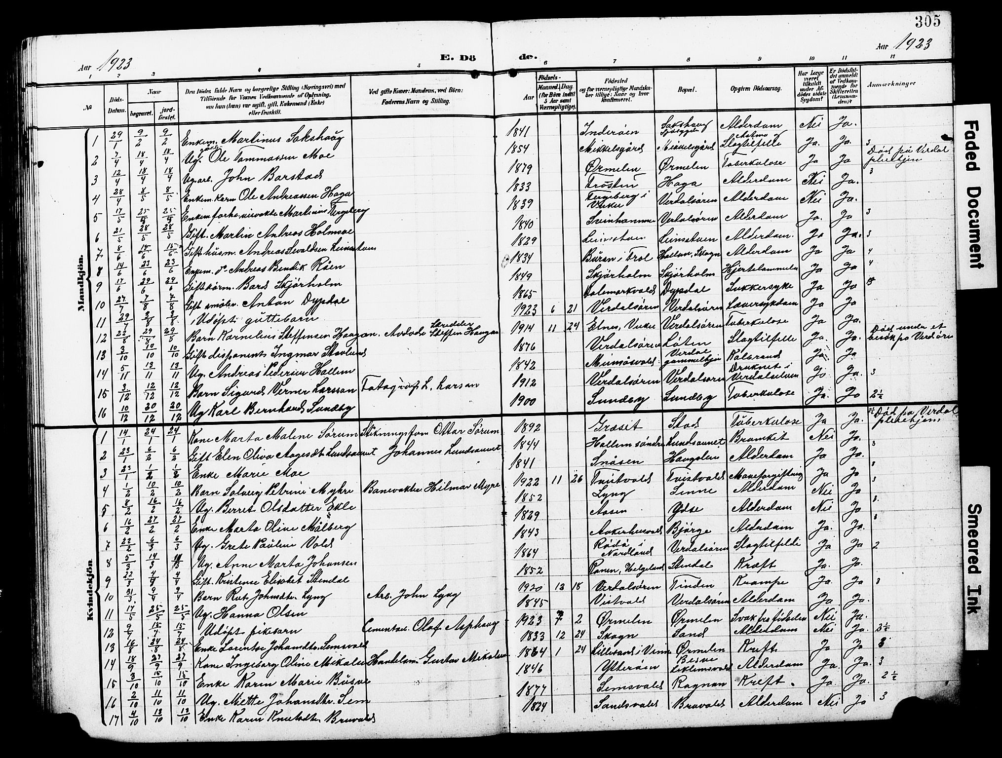 SAT, Ministerialprotokoller, klokkerbøker og fødselsregistre - Nord-Trøndelag, 723/L0258: Klokkerbok nr. 723C06, 1908-1927, s. 305