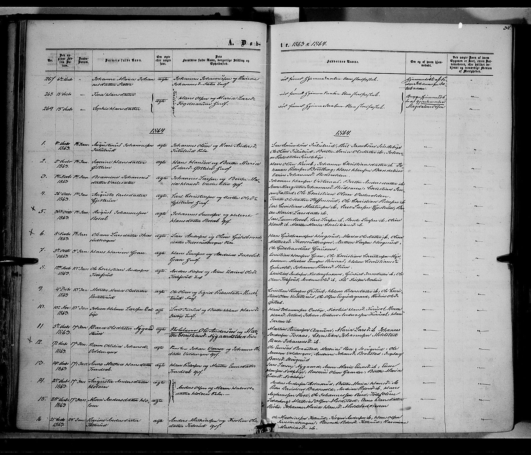 SAH, Vestre Toten prestekontor, Ministerialbok nr. 7, 1862-1869, s. 34