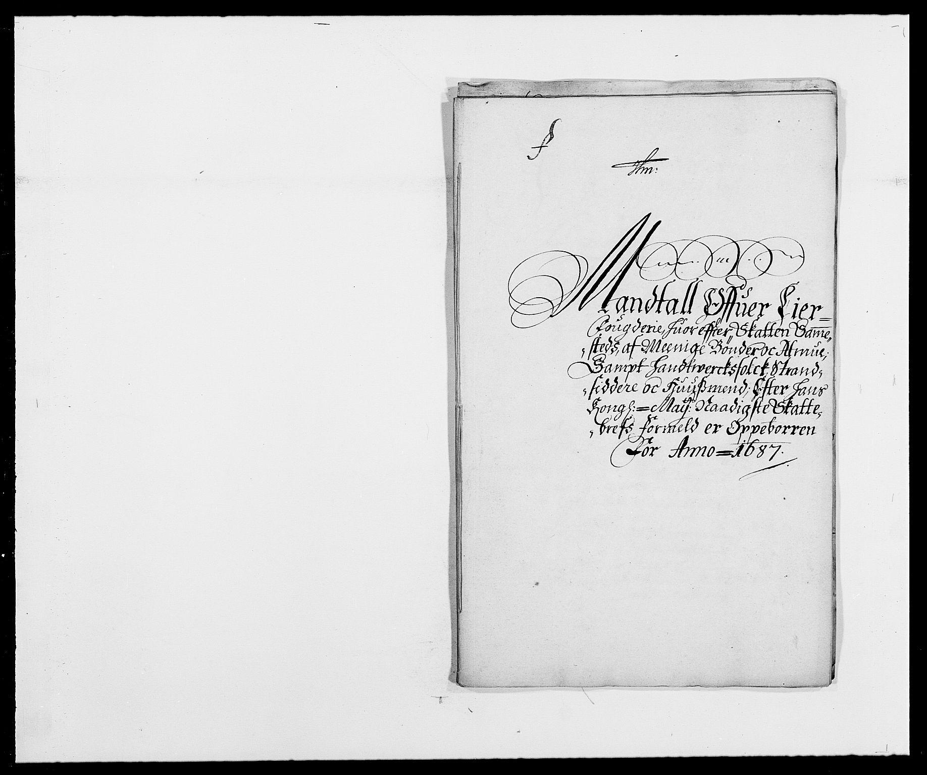 RA, Rentekammeret inntil 1814, Reviderte regnskaper, Fogderegnskap, R28/L1688: Fogderegnskap Eiker og Lier, 1687-1689, s. 42