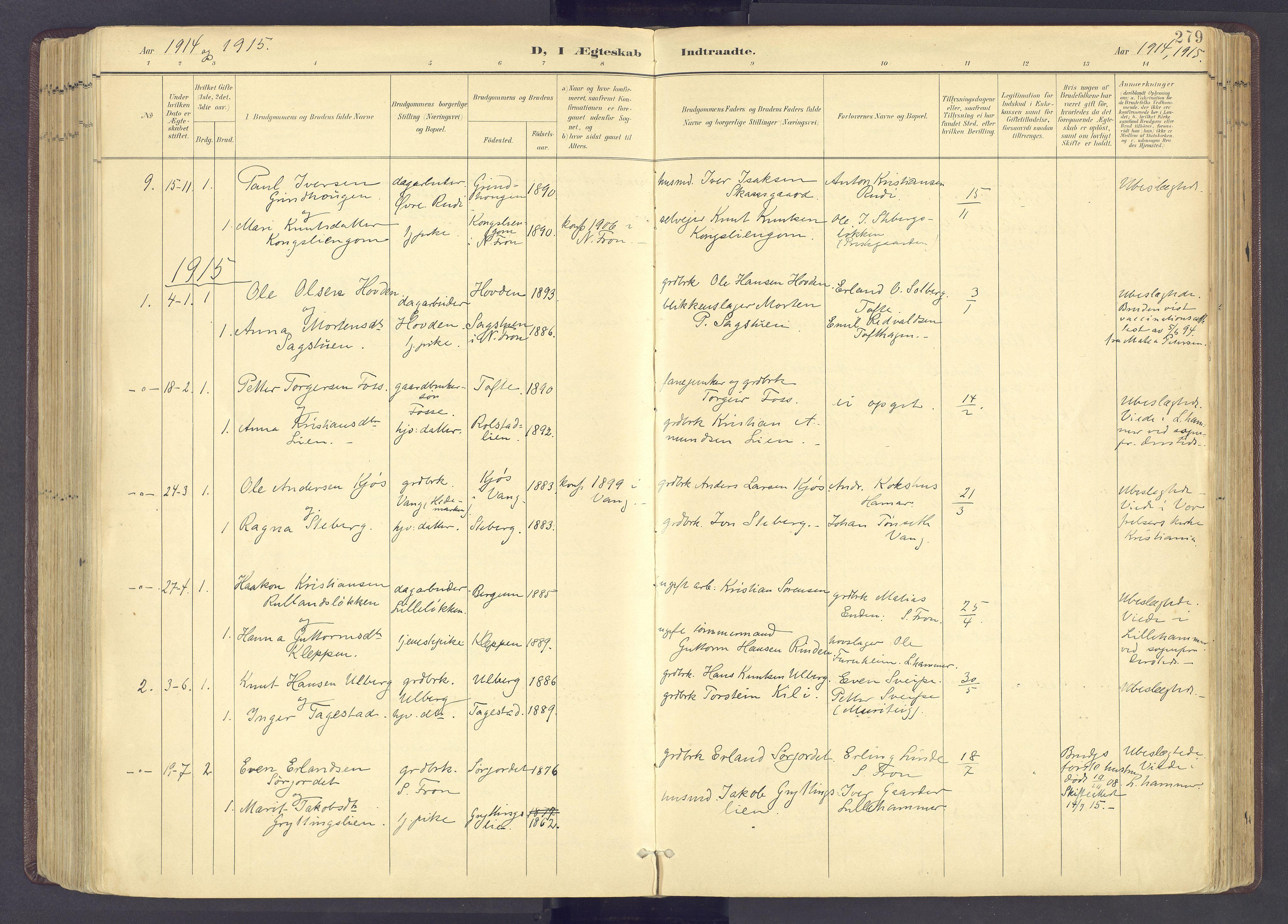 SAH, Sør-Fron prestekontor, H/Ha/Haa/L0004: Ministerialbok nr. 4, 1898-1919, s. 279