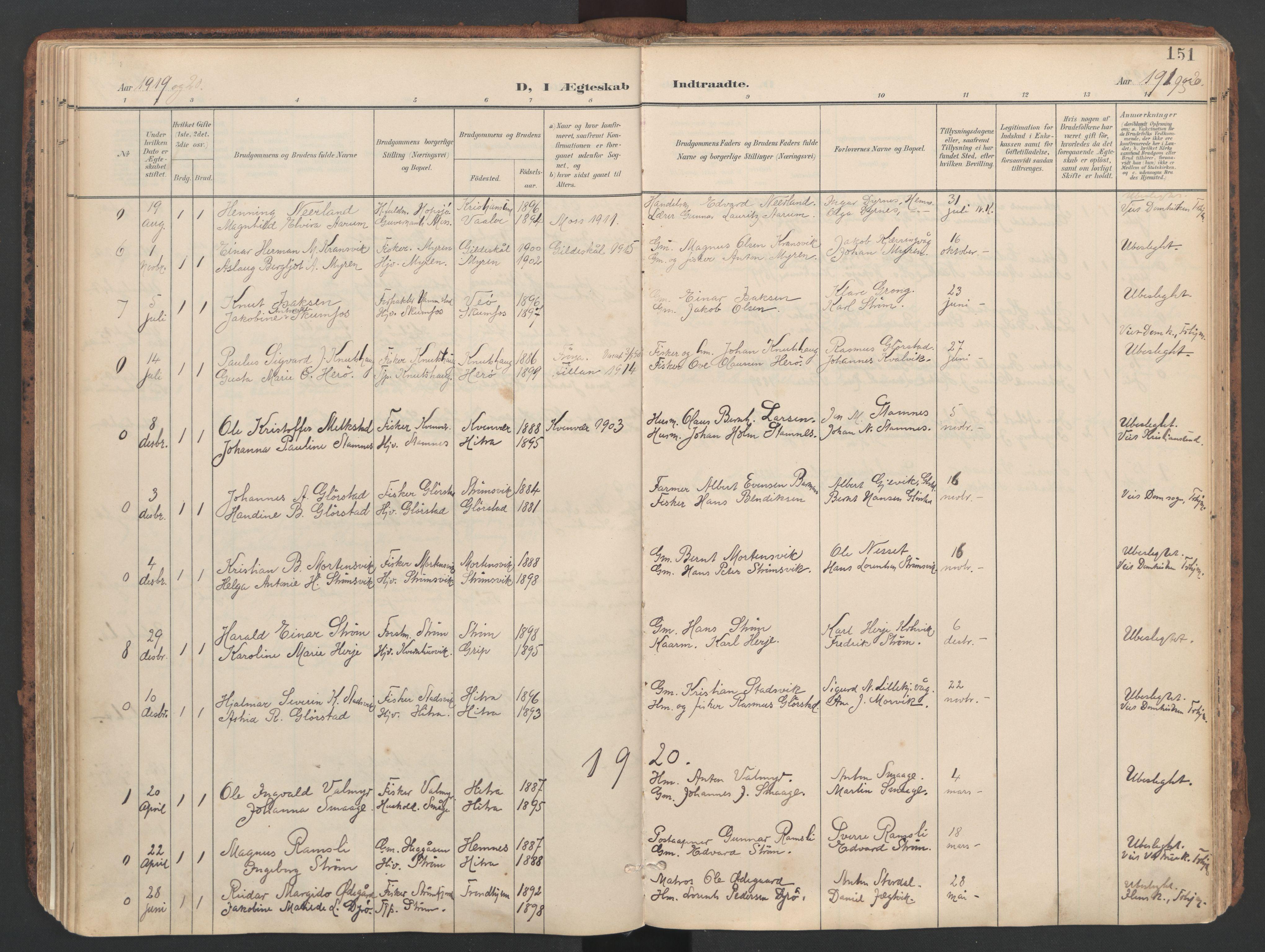 SAT, Ministerialprotokoller, klokkerbøker og fødselsregistre - Sør-Trøndelag, 634/L0537: Ministerialbok nr. 634A13, 1896-1922, s. 151