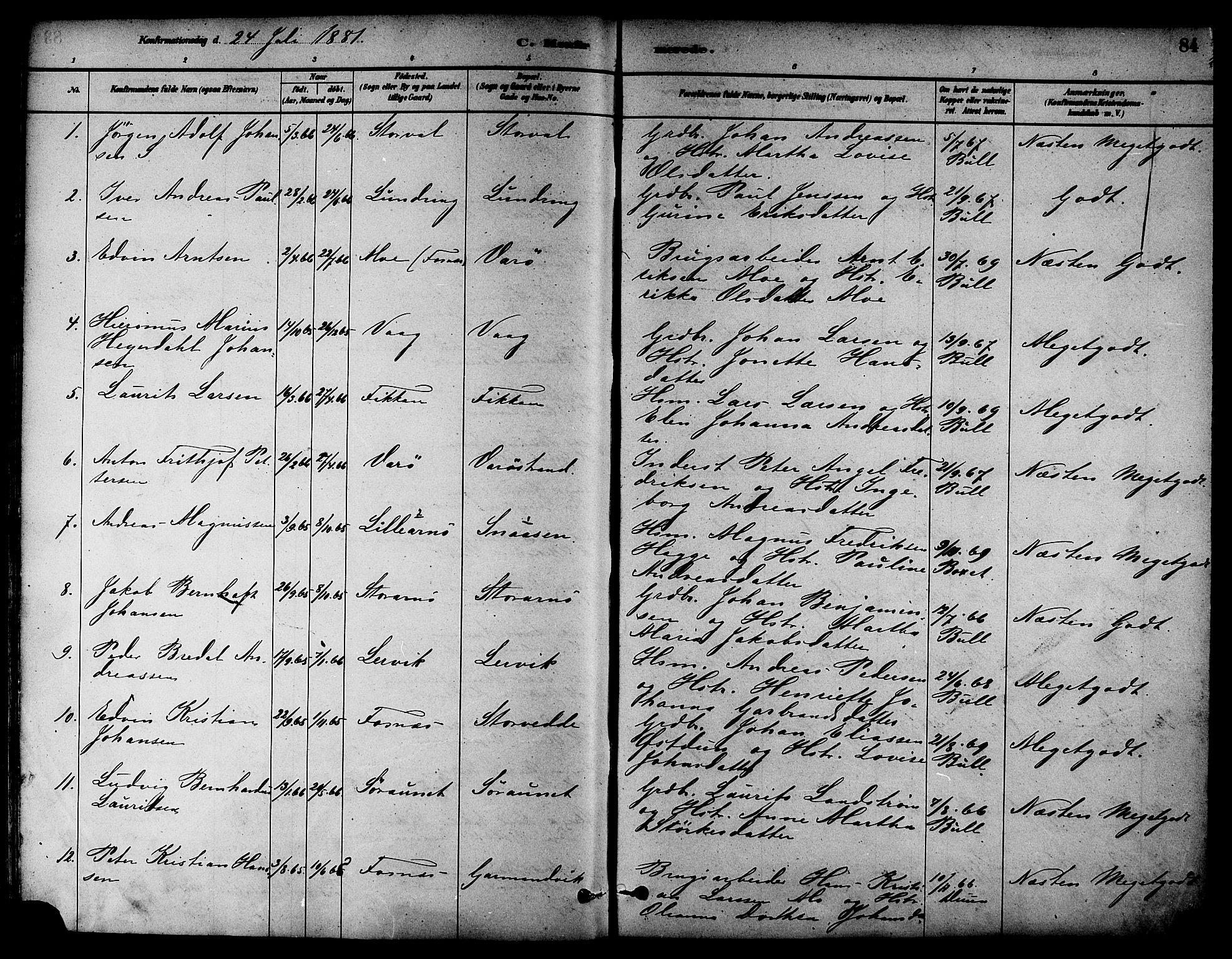 SAT, Ministerialprotokoller, klokkerbøker og fødselsregistre - Nord-Trøndelag, 784/L0672: Ministerialbok nr. 784A07, 1880-1887, s. 84
