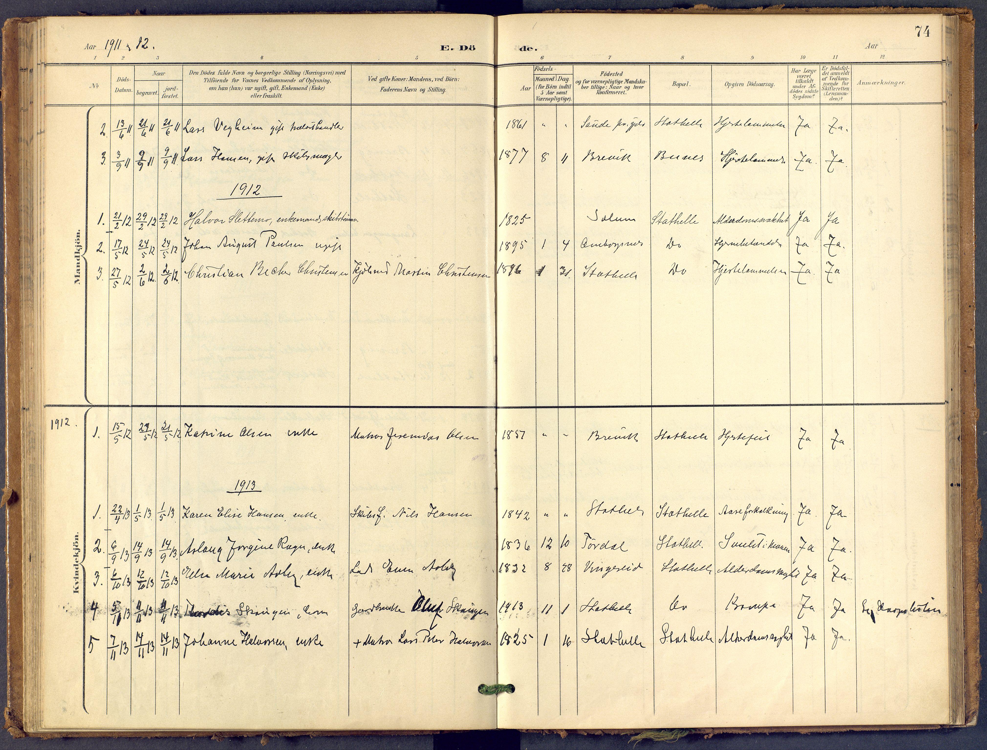 SAKO, Bamble kirkebøker, F/Fb/L0002: Ministerialbok nr. II 2, 1900-1921, s. 74