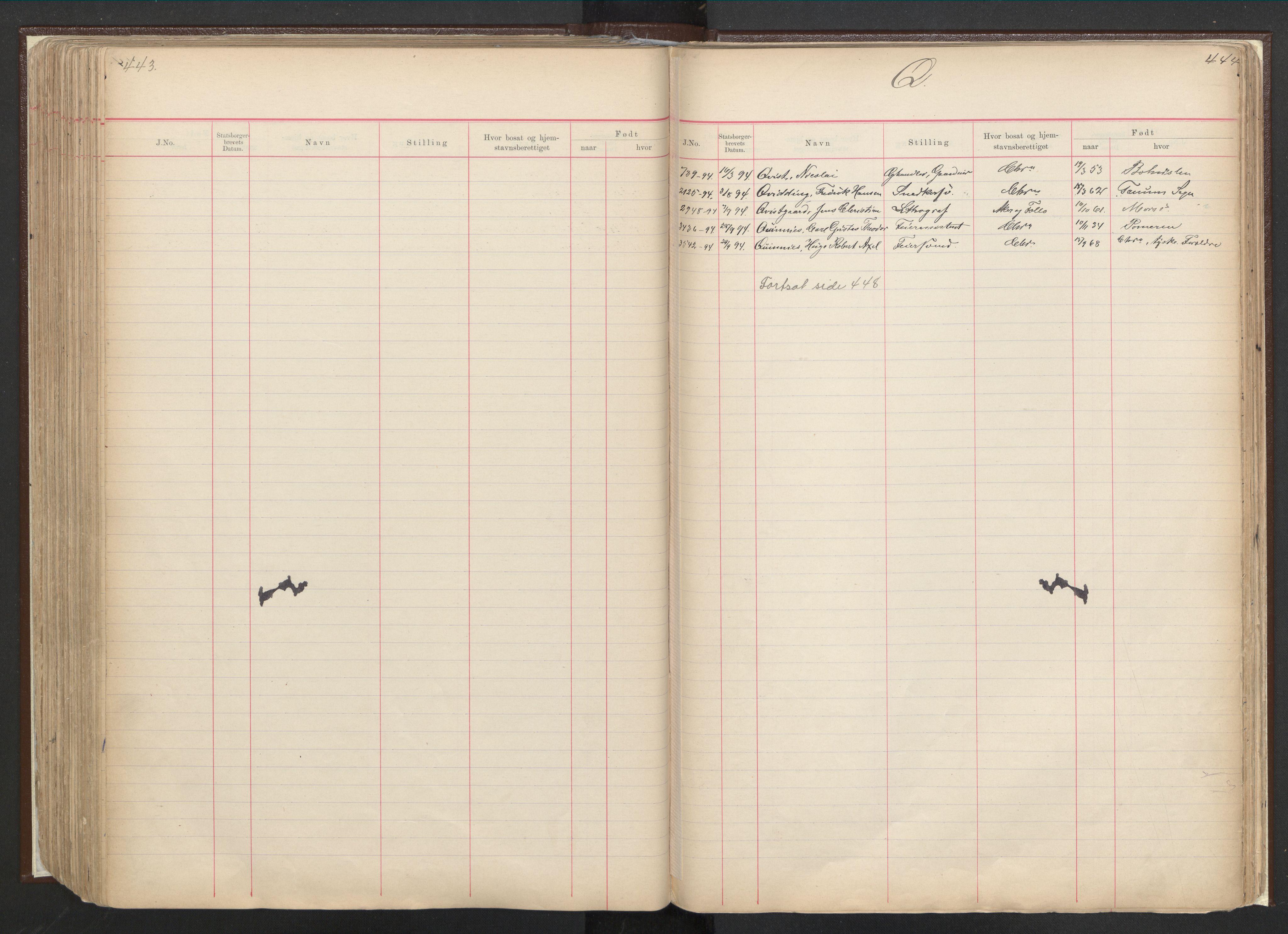 RA, Justisdepartementet, 3. politikontor P3, C/Cc/L0001: Journal over statsborgersaker, 1891-1946, s. 443-444