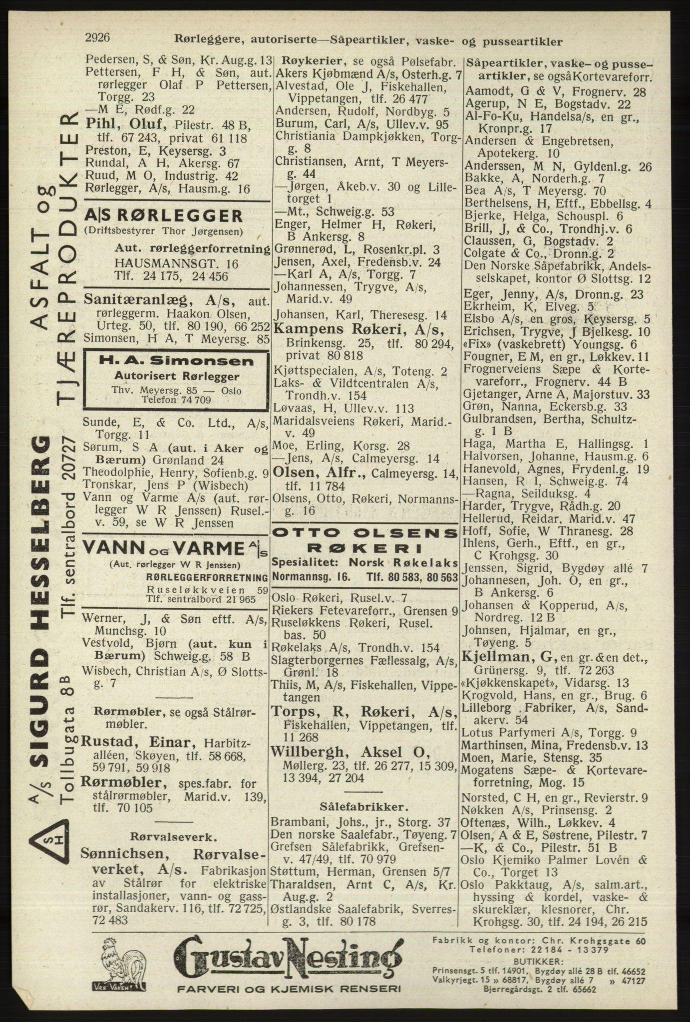 RA, Oslo adressebok (publikasjon)*, 1940, s. 2926