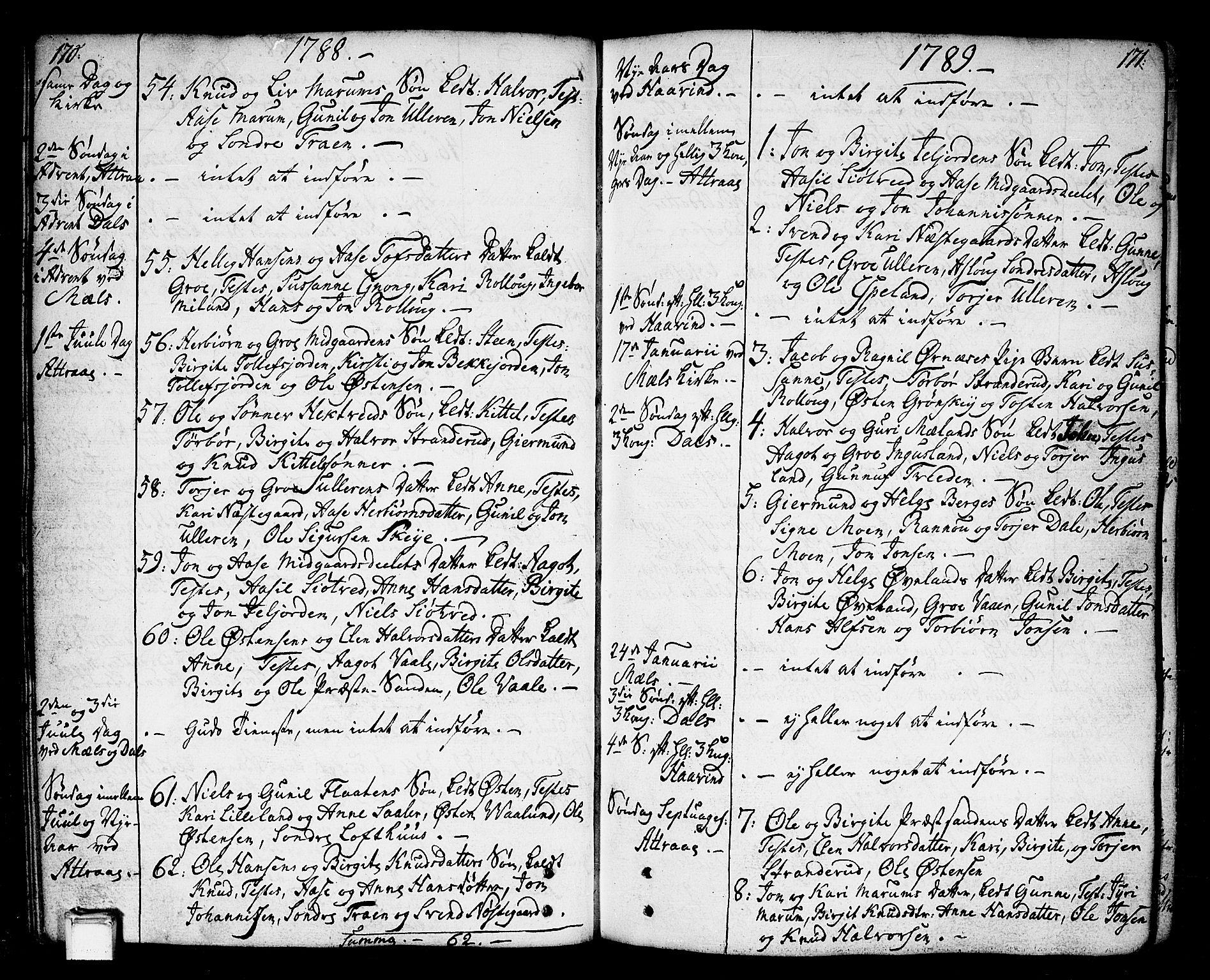 SAKO, Tinn kirkebøker, F/Fa/L0002: Ministerialbok nr. I 2, 1757-1810, s. 170-171