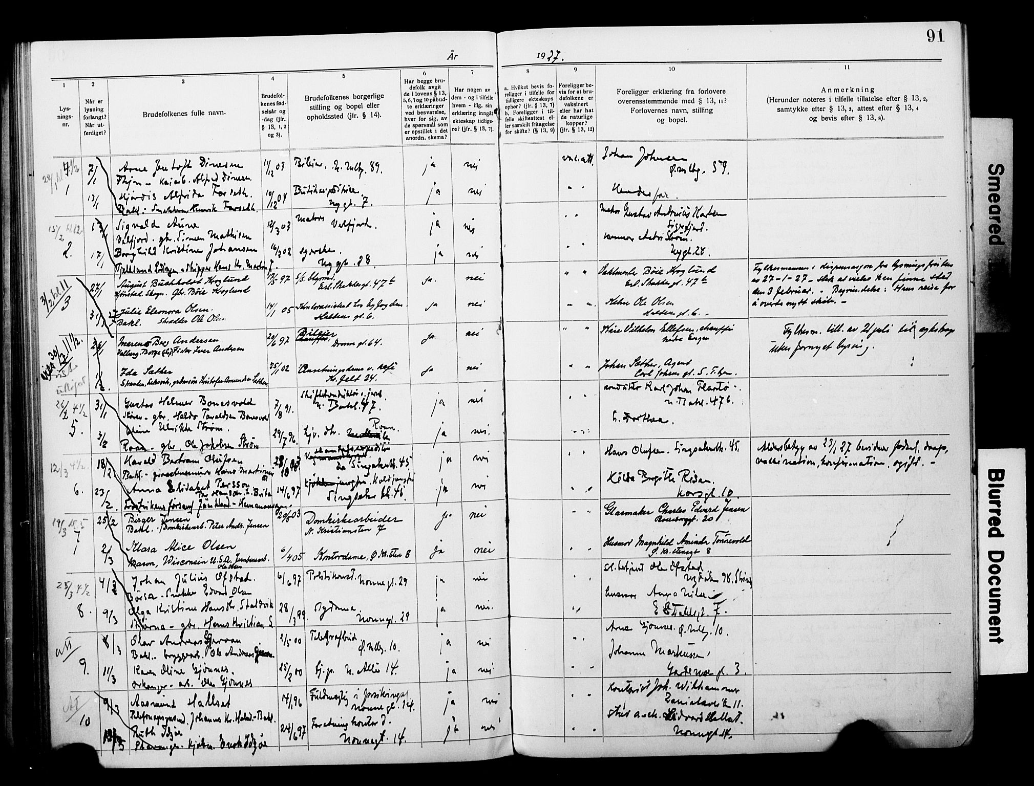 SAT, Ministerialprotokoller, klokkerbøker og fødselsregistre - Sør-Trøndelag, 604/L0196: Lysningsprotokoll nr. 604A17, 1919-1927, s. 91