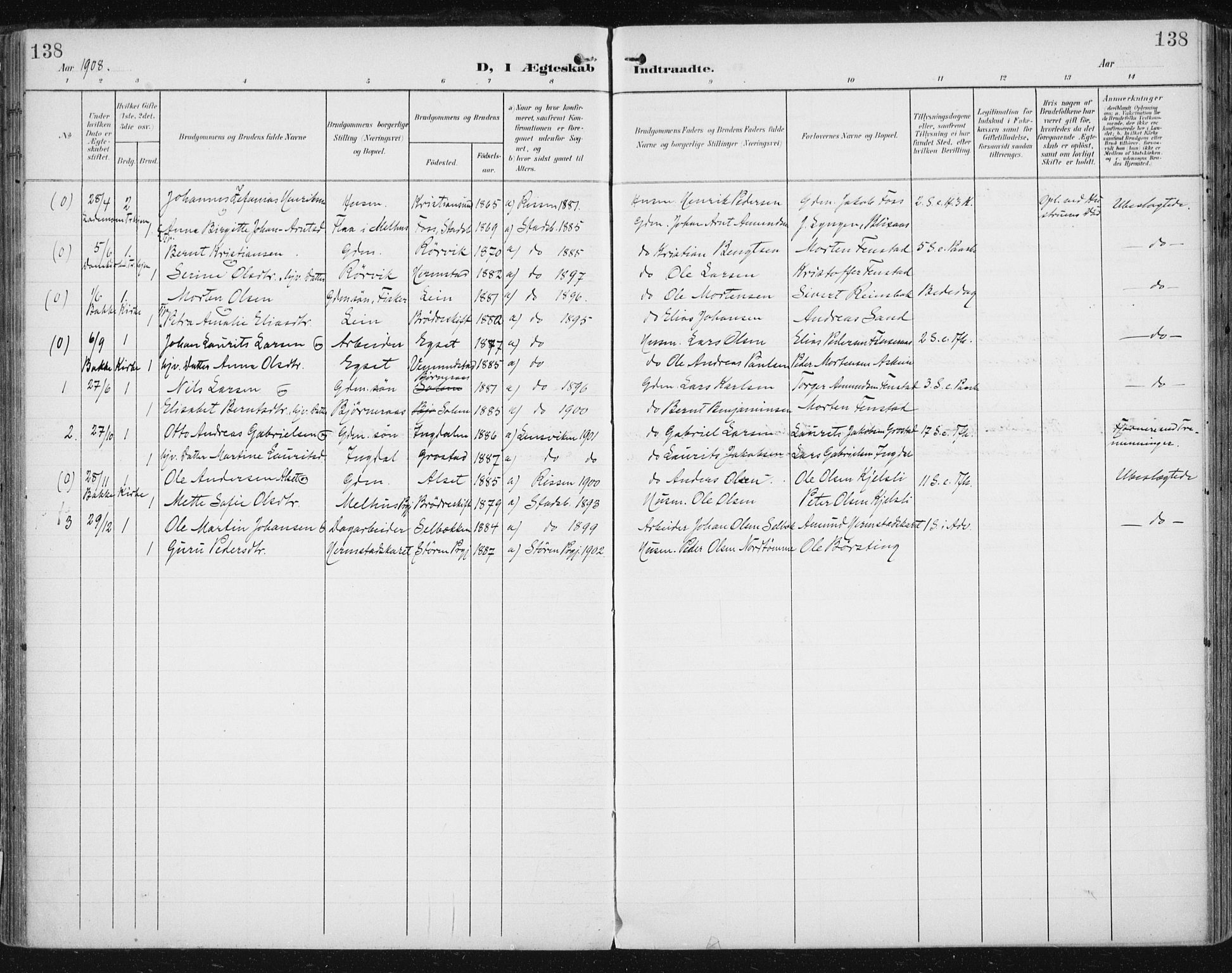 SAT, Ministerialprotokoller, klokkerbøker og fødselsregistre - Sør-Trøndelag, 646/L0616: Ministerialbok nr. 646A14, 1900-1918, s. 138