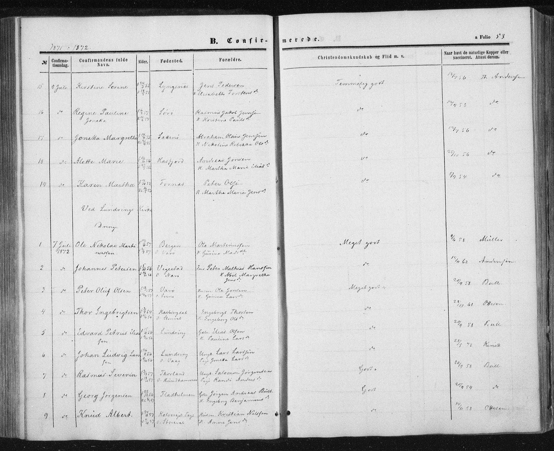 SAT, Ministerialprotokoller, klokkerbøker og fødselsregistre - Nord-Trøndelag, 784/L0670: Ministerialbok nr. 784A05, 1860-1876, s. 53