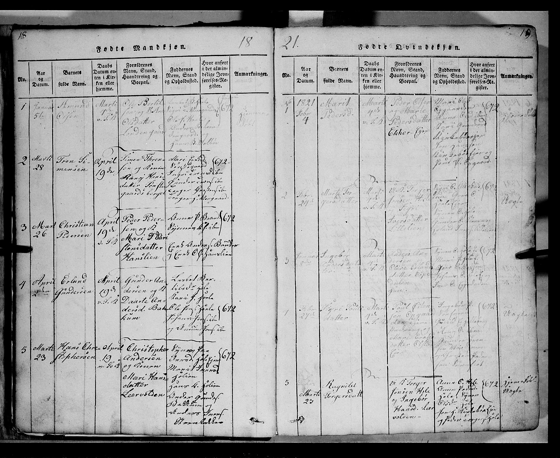 SAH, Gausdal prestekontor, Klokkerbok nr. 2, 1818-1874, s. 18-19
