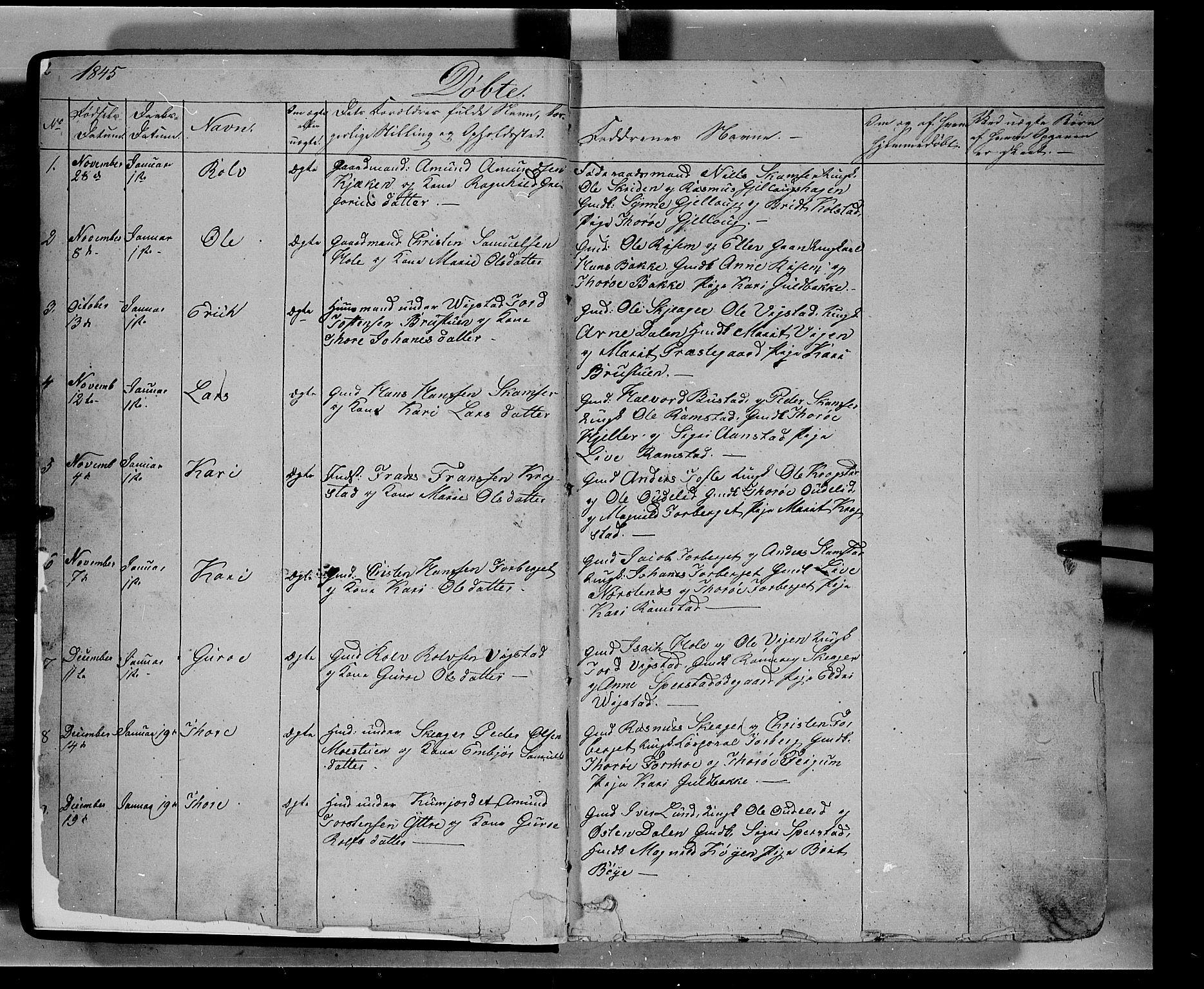 SAH, Lom prestekontor, L/L0004: Klokkerbok nr. 4, 1845-1864, s. 2-3