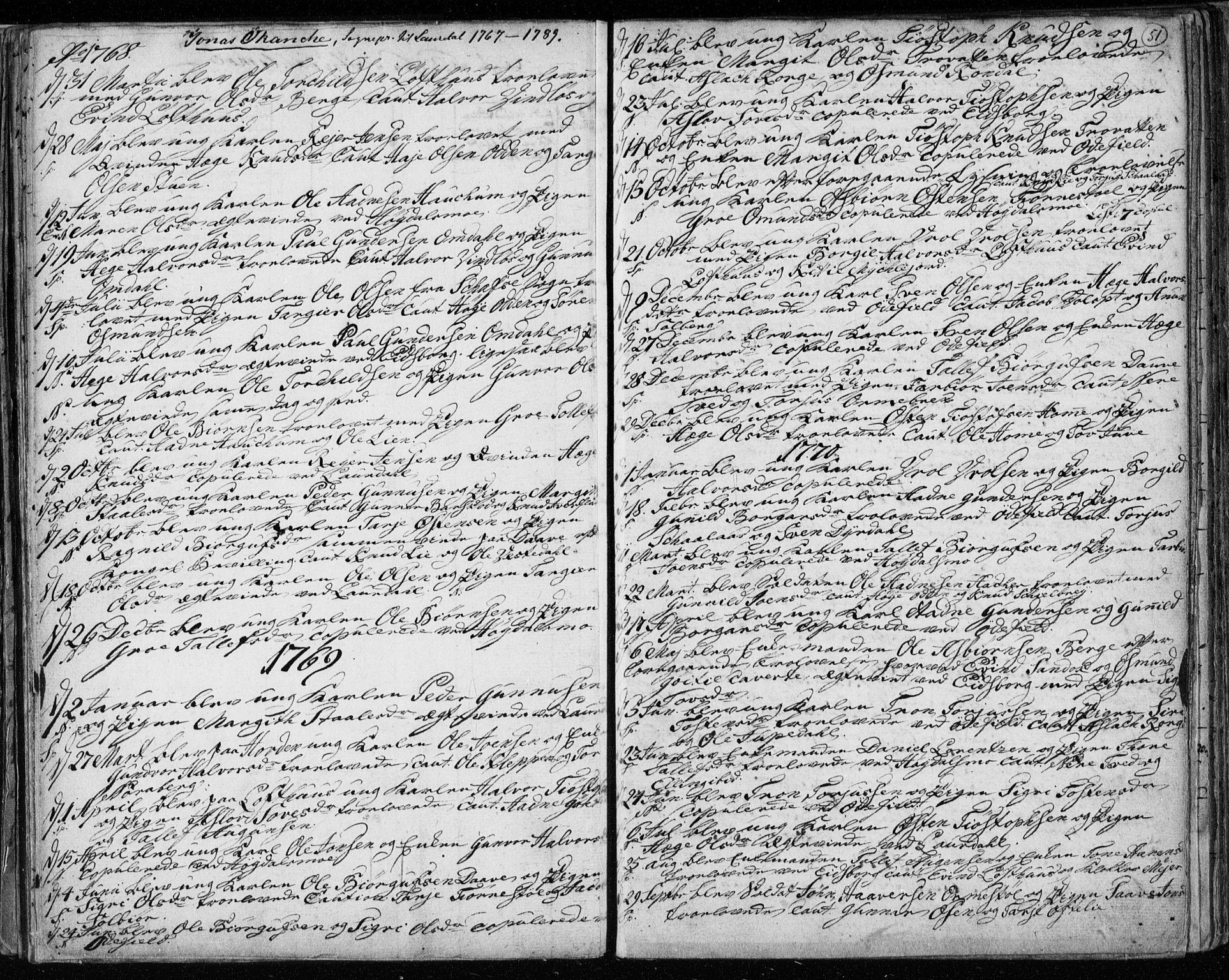 SAKO, Lårdal kirkebøker, F/Fa/L0003: Ministerialbok nr. I 3, 1754-1790, s. 51