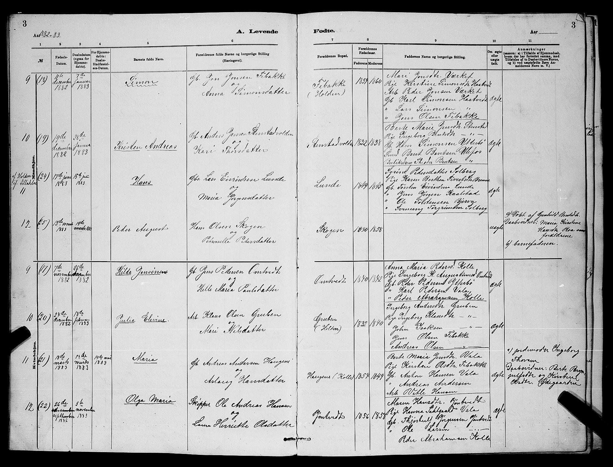 SAKO, Holla kirkebøker, G/Gb/L0001: Klokkerbok nr. II 1, 1882-1897, s. 3