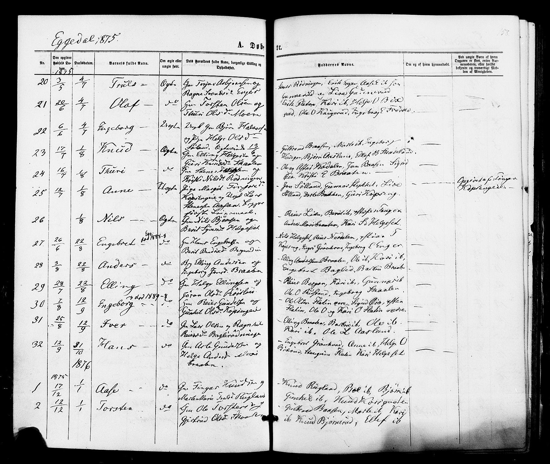 SAKO, Sigdal kirkebøker, F/Fa/L0010: Ministerialbok nr. I 10 /3, 1872-1878, s. 158